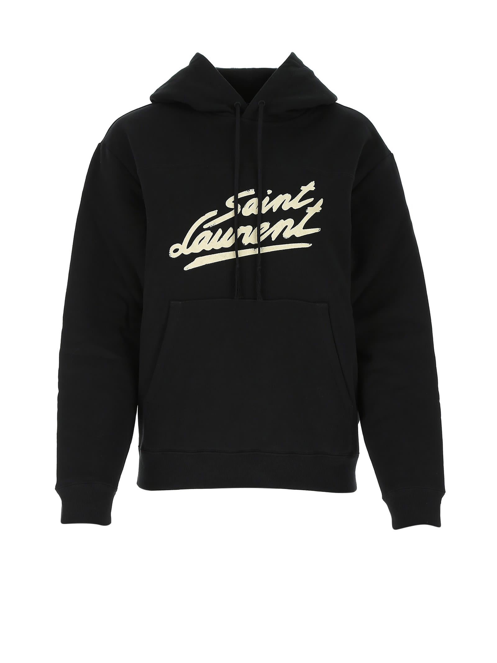 Women hoodie from Saint Laurent with logo print in black cotton. Composition: 100% Cotone