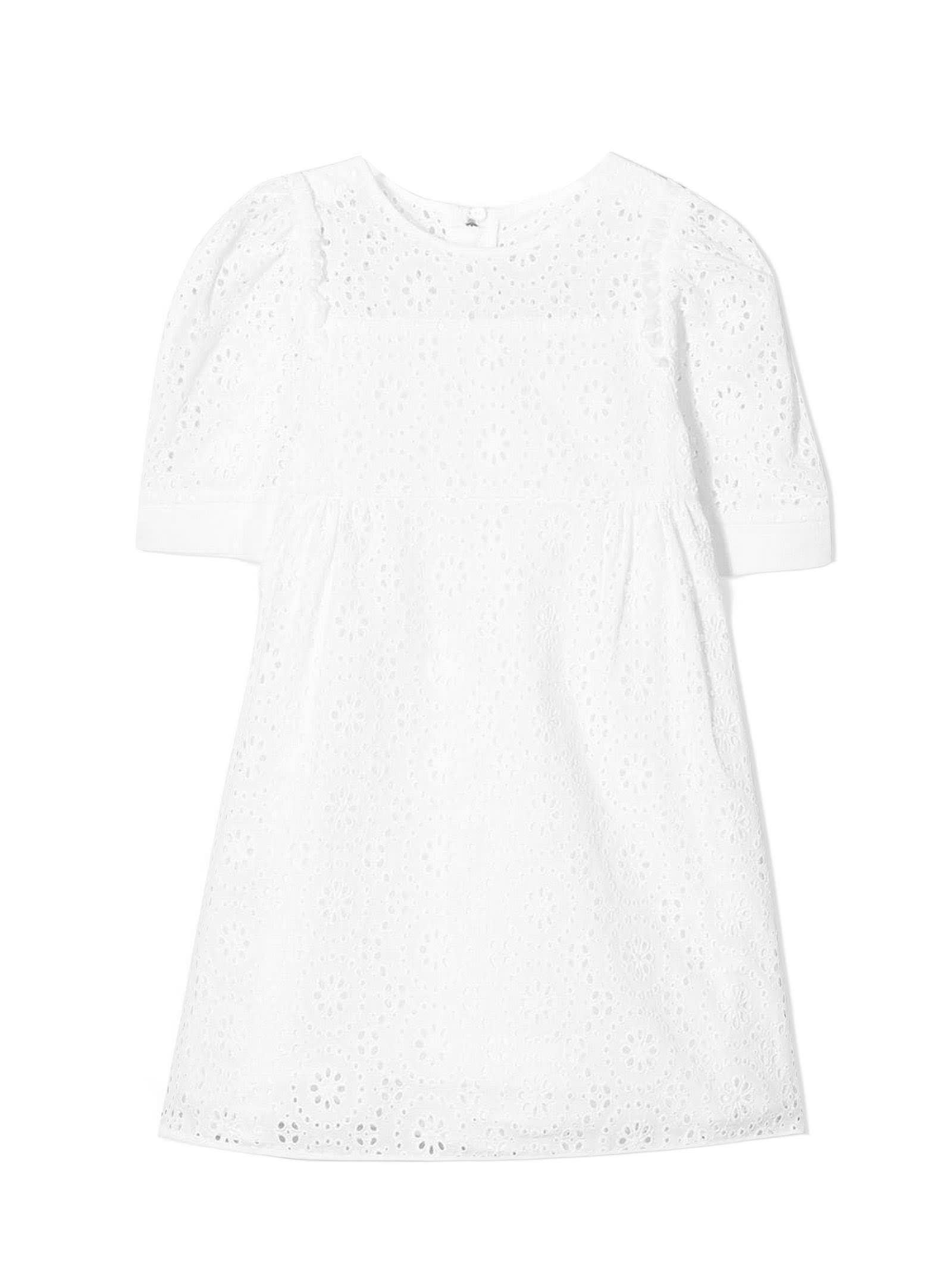 Chloé White Cotton Broderie Anglais Dress