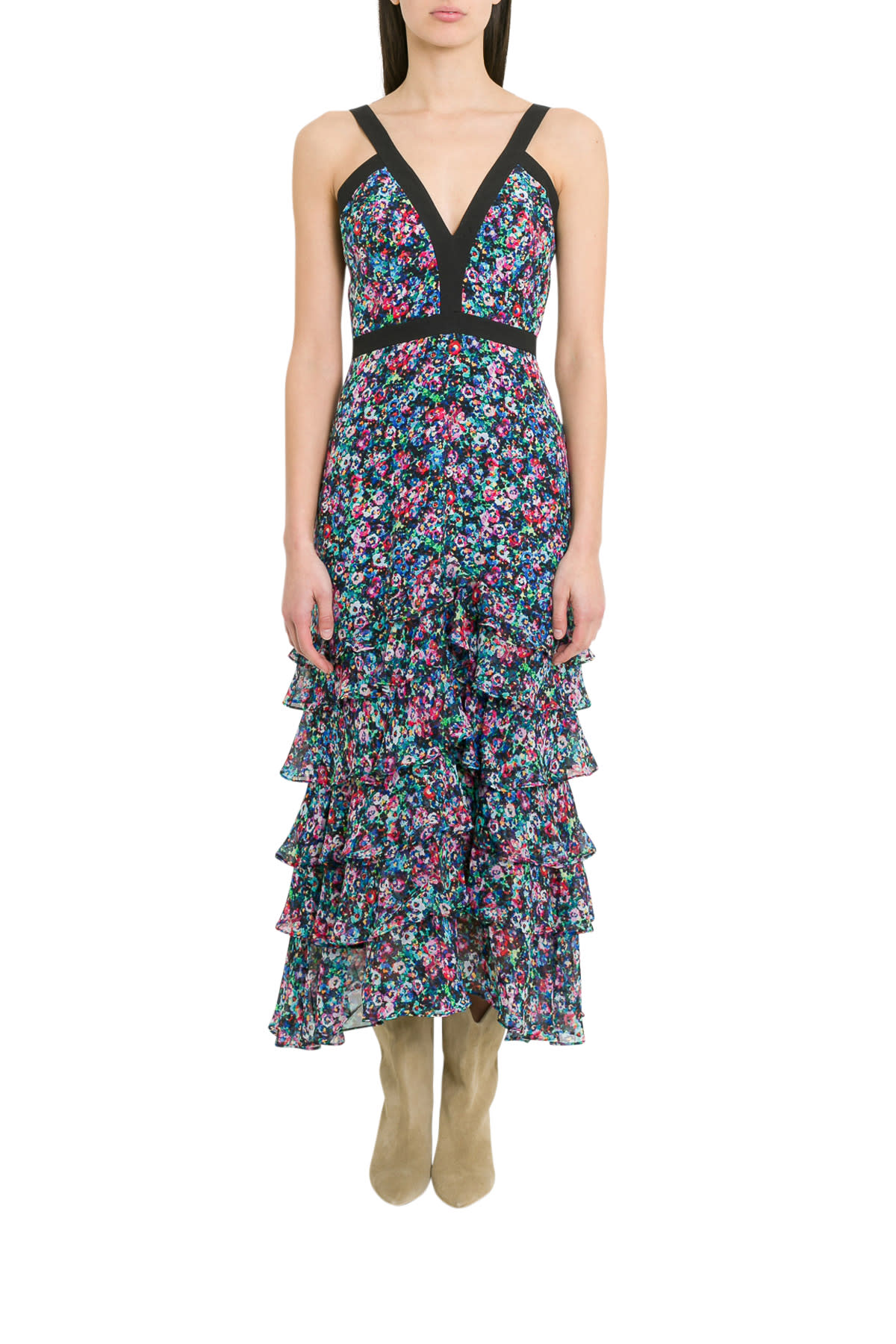 Saloni Lana Tiered Dress With Floral Motif