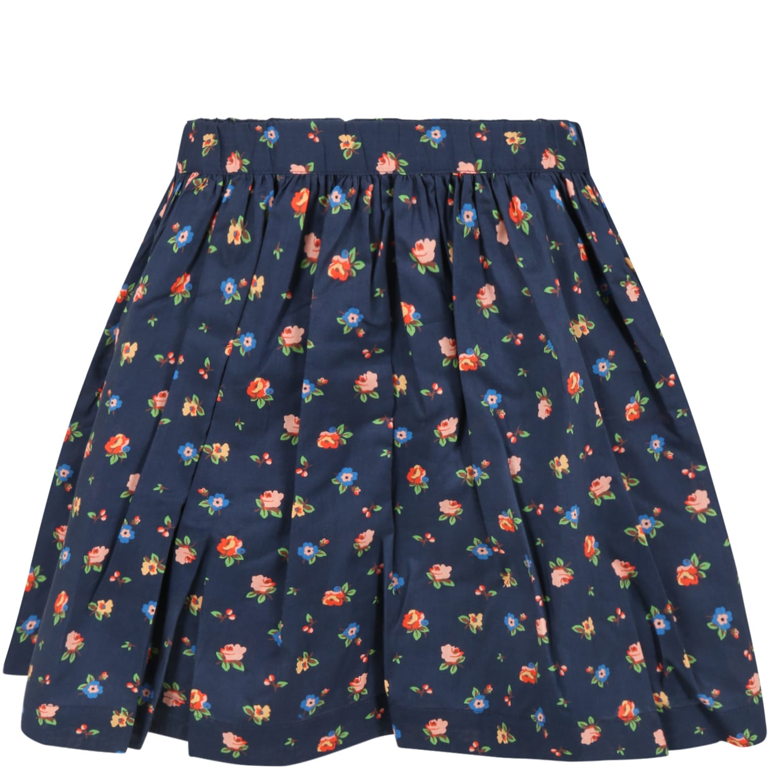 Blue Skirt For Girl With Flowers