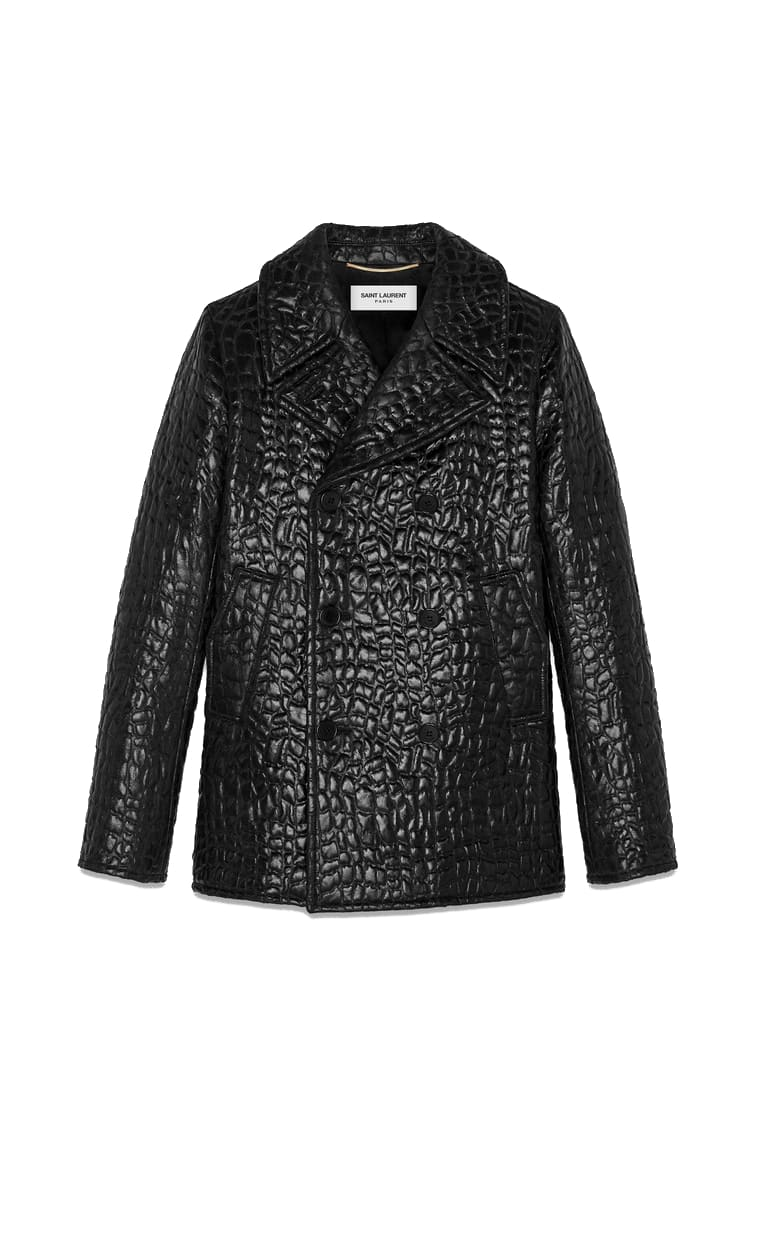 Saint Laurent Double Breasted Mock Croc Effect Coat