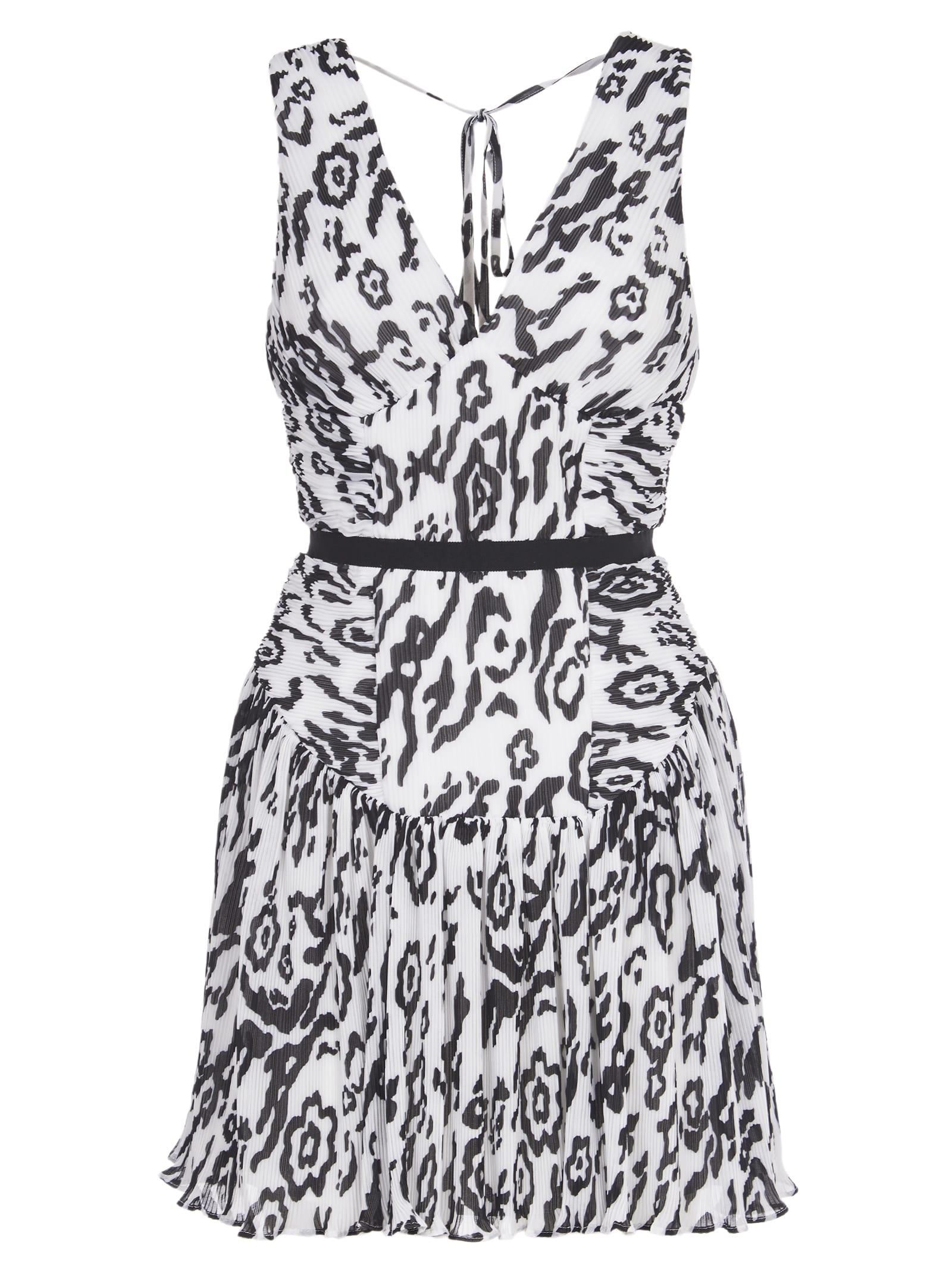 self-portrait Mini Dress Black And White Animal Print