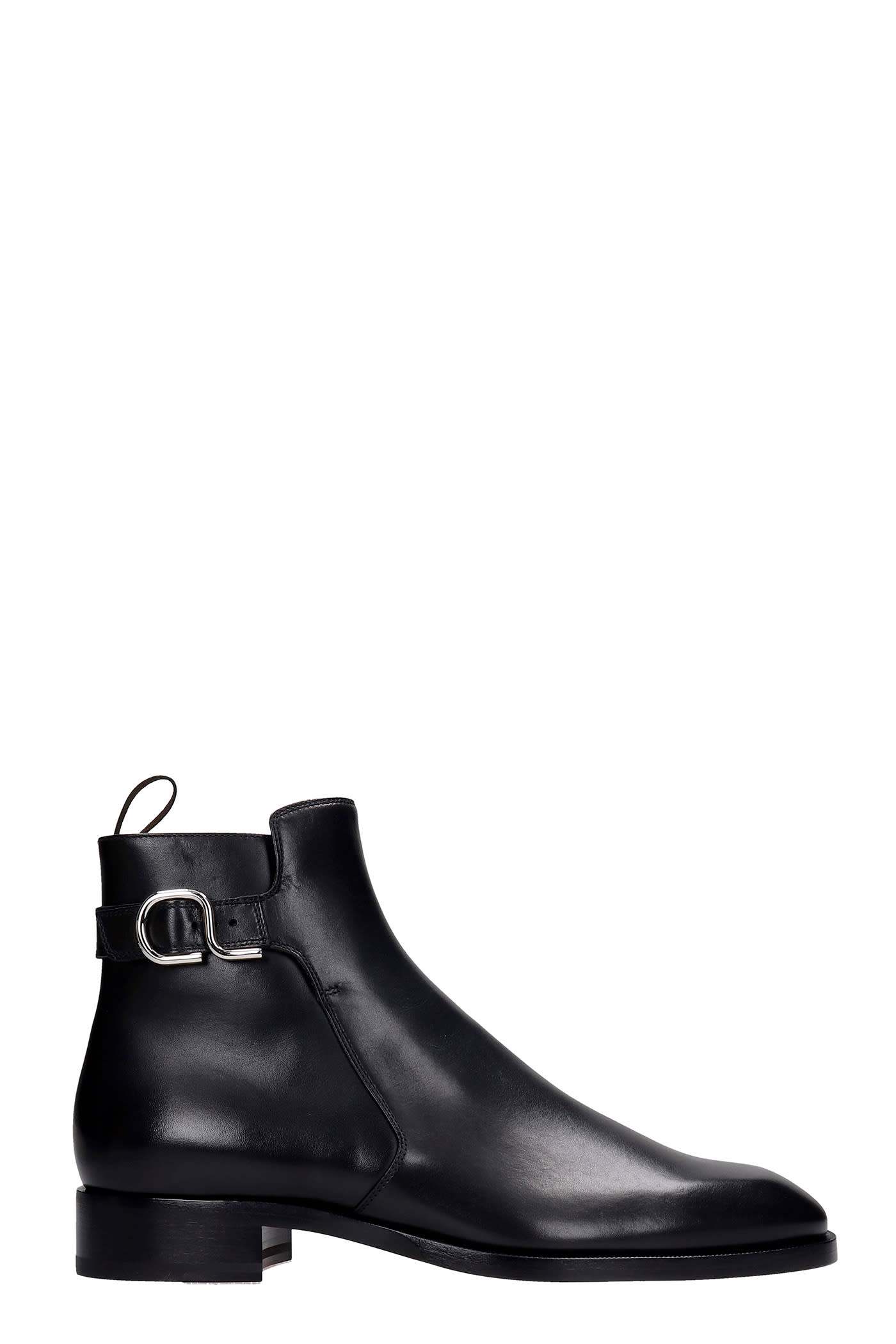 Christian Louboutin VALIDO LOW HEELS ANKLE BOOTS IN BLACK LEATHER