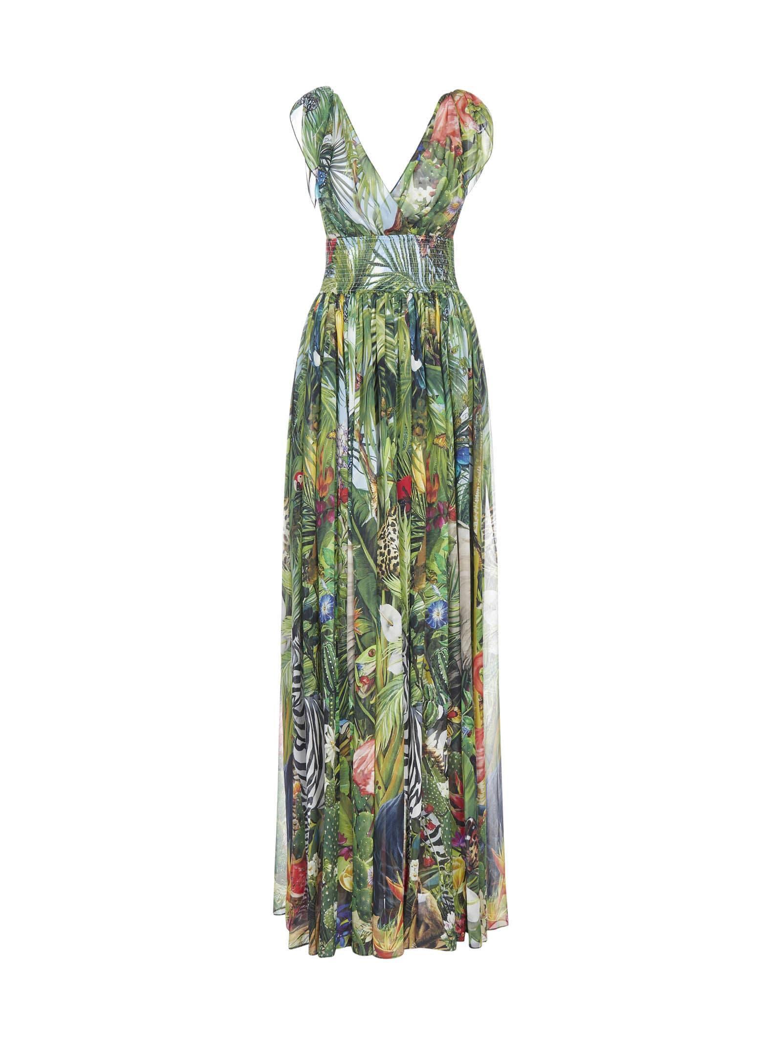 Dolce & Gabbana Jungle Print Silk Maxi Dress