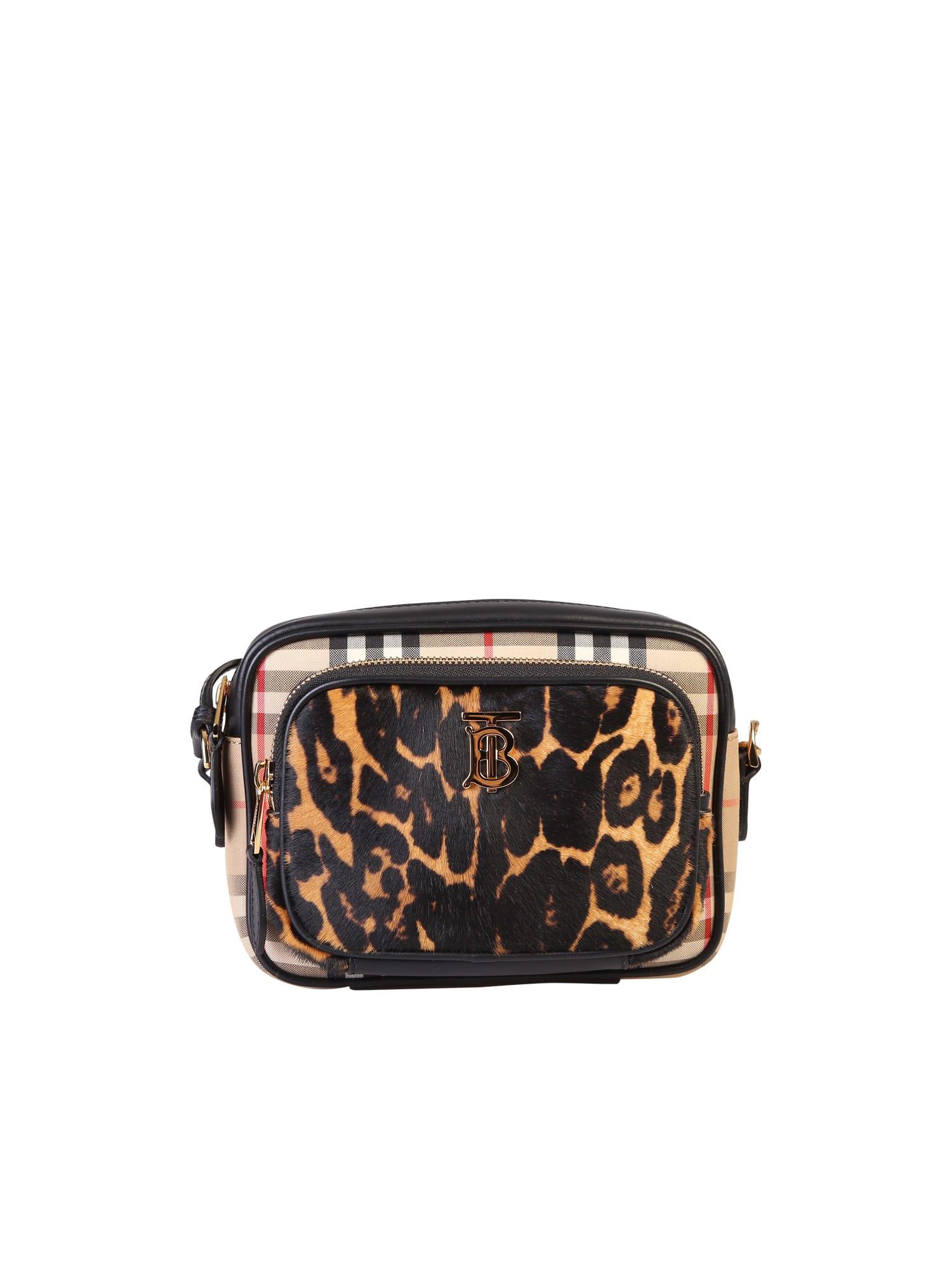 Burberry Leopard Print Camera Bag In Black