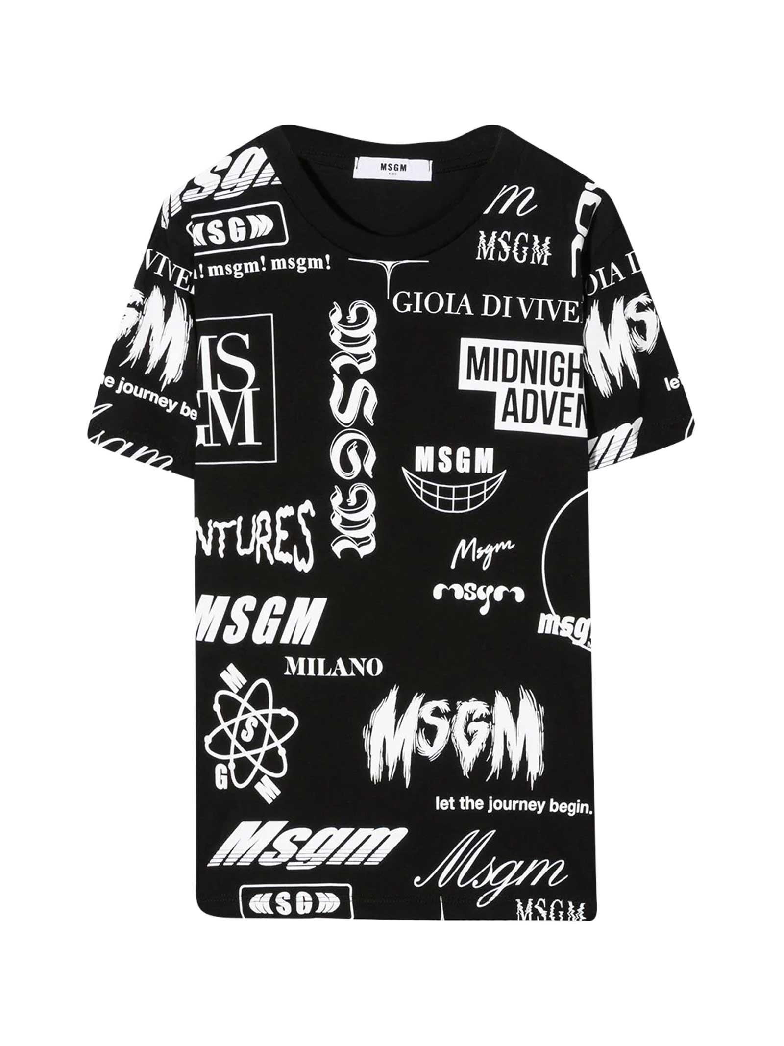 Msgm Cottons BLACK T-SHIRT