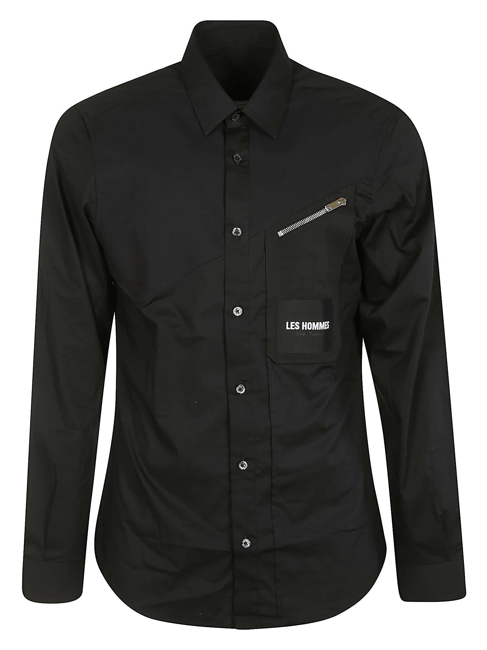 Les Hommes Zip Pocket Slim Fit Shirt