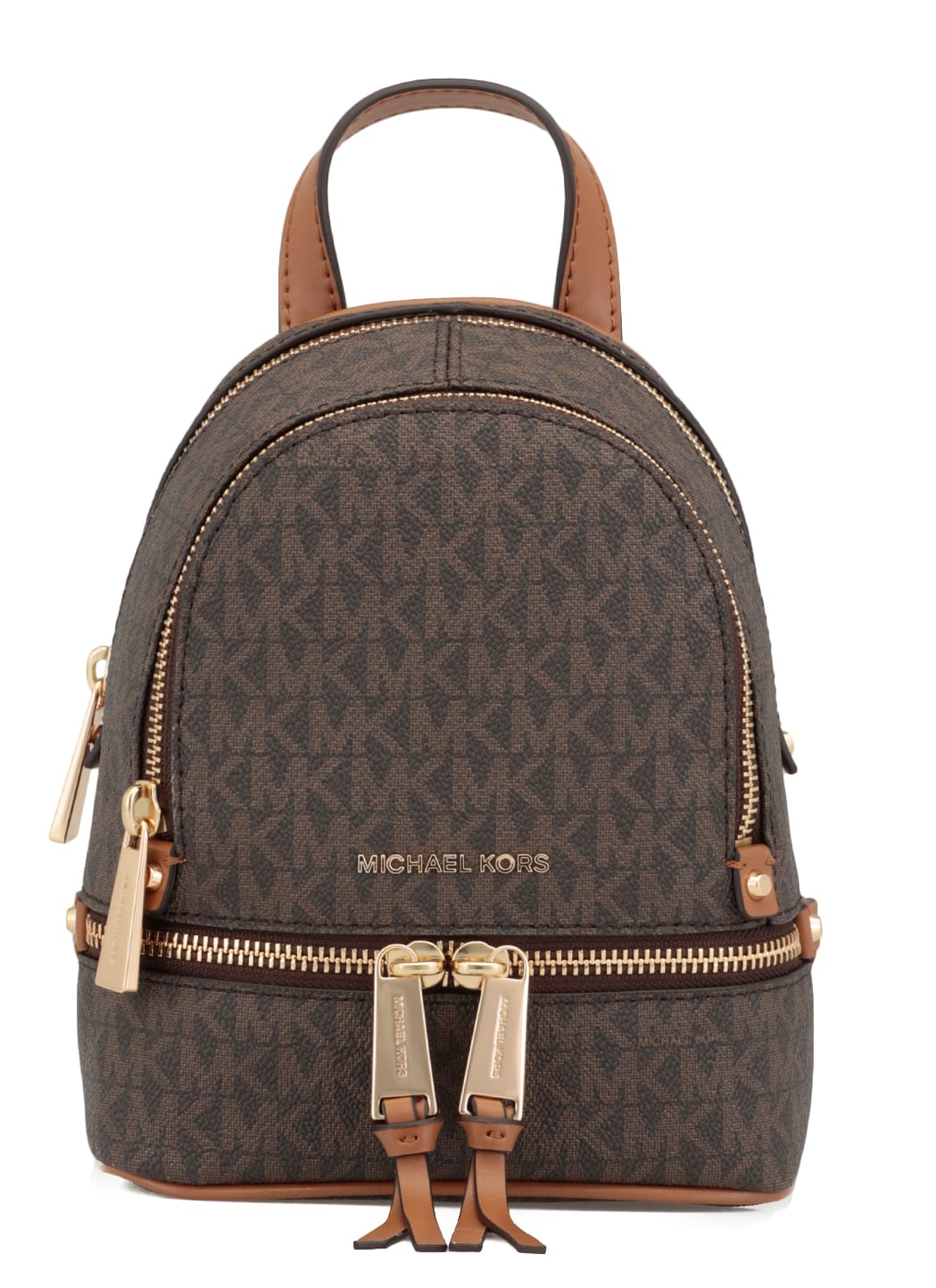 Michael Michael Kors Mini Rhea Backpack With All-over Logo In Brown
