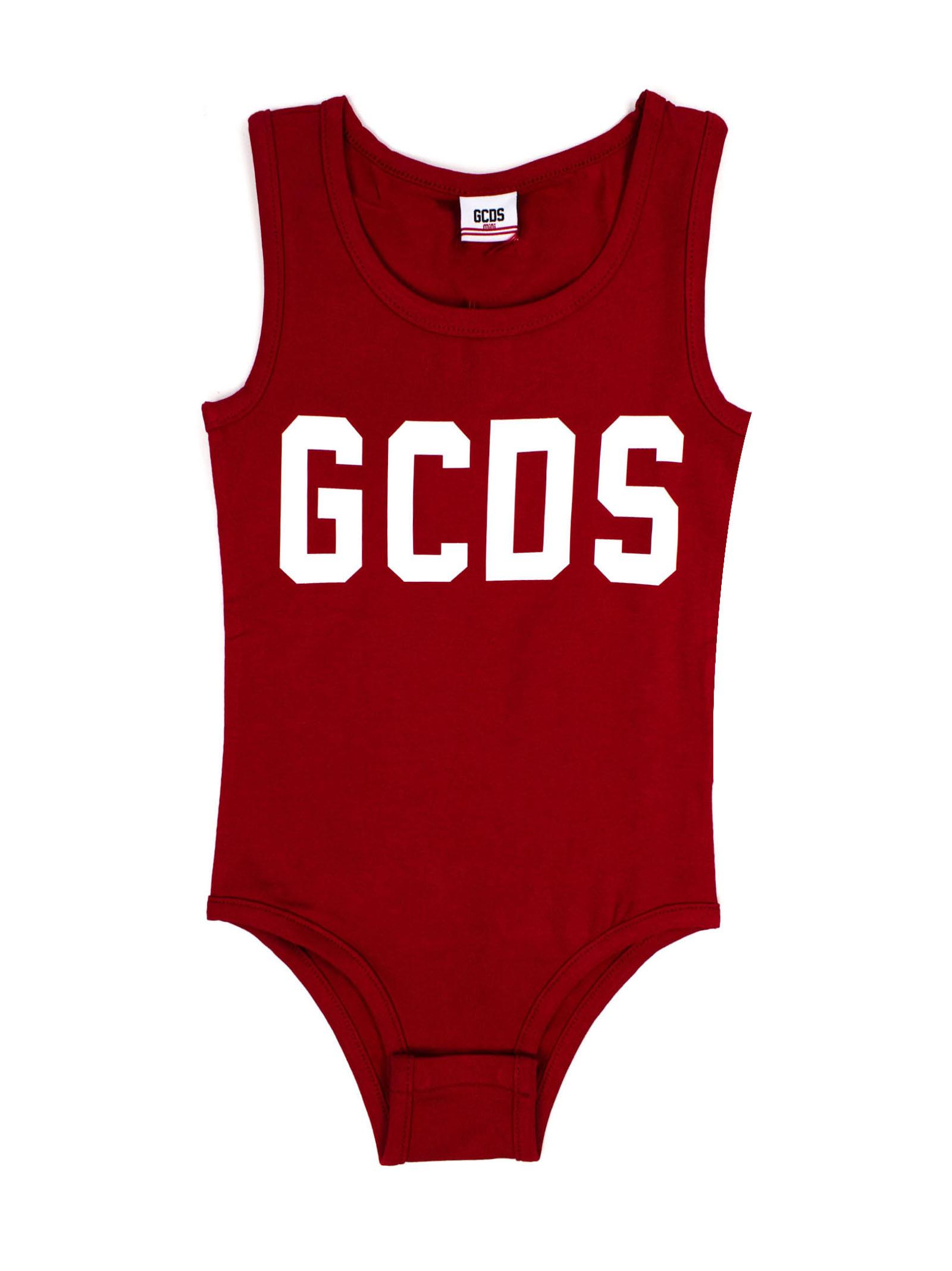Red Stretch Cotton Logo Print Bodysuit