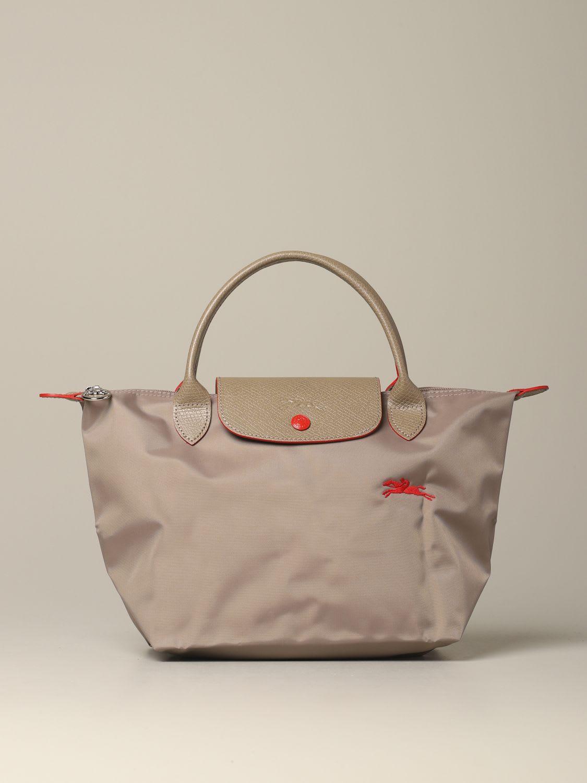 Longchamp Bag In Nylon With Logo In Dove Grey