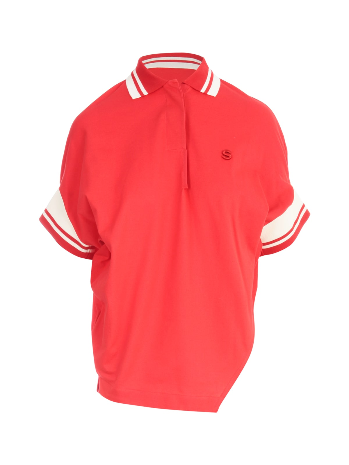 Sacai COTTON JERSEY ASYMMETRICAL POLO SHIRT