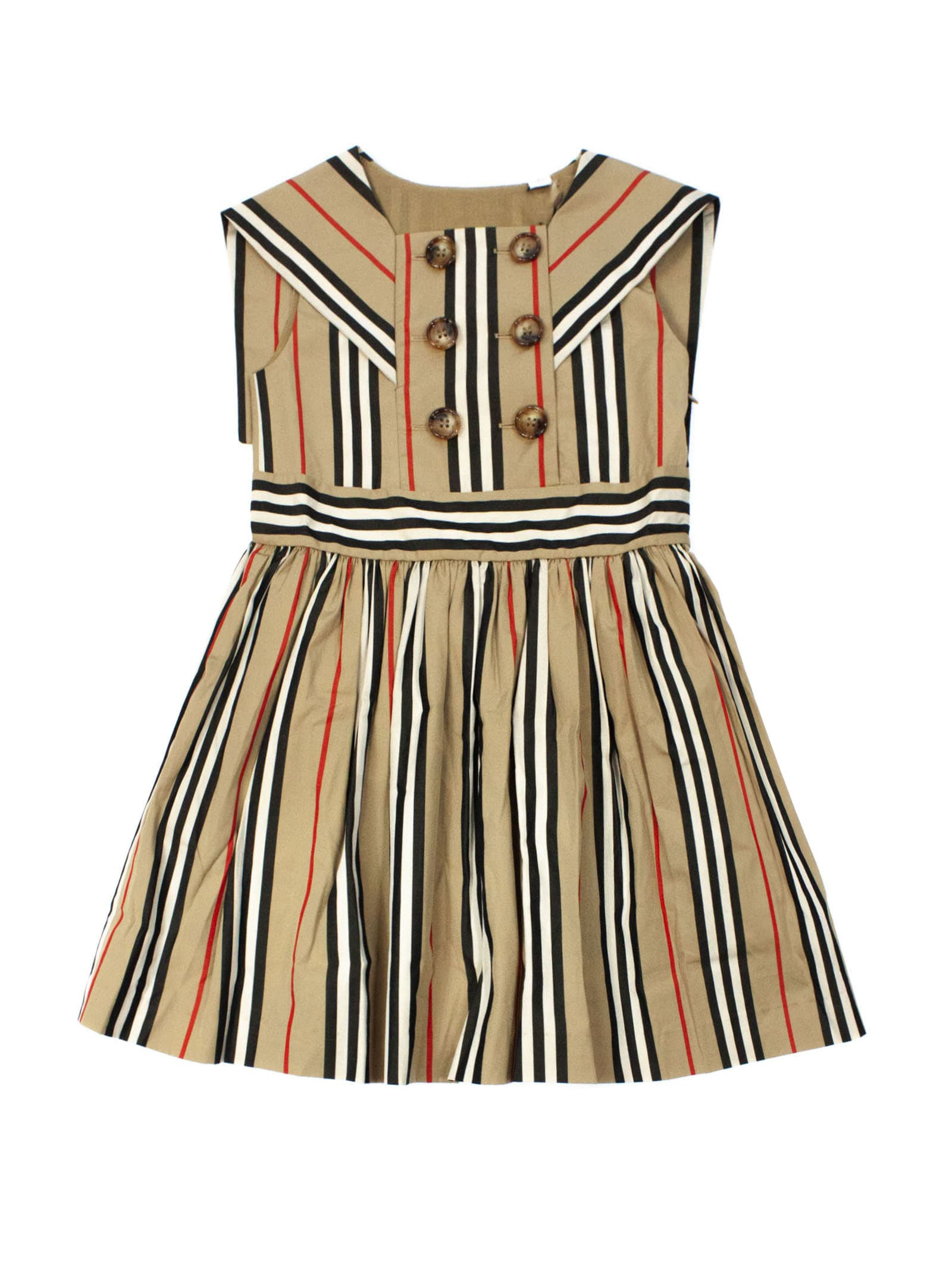 Buy Burberry Beige Cotton Icon Stripe Dress online, shop Burberry with free shipping