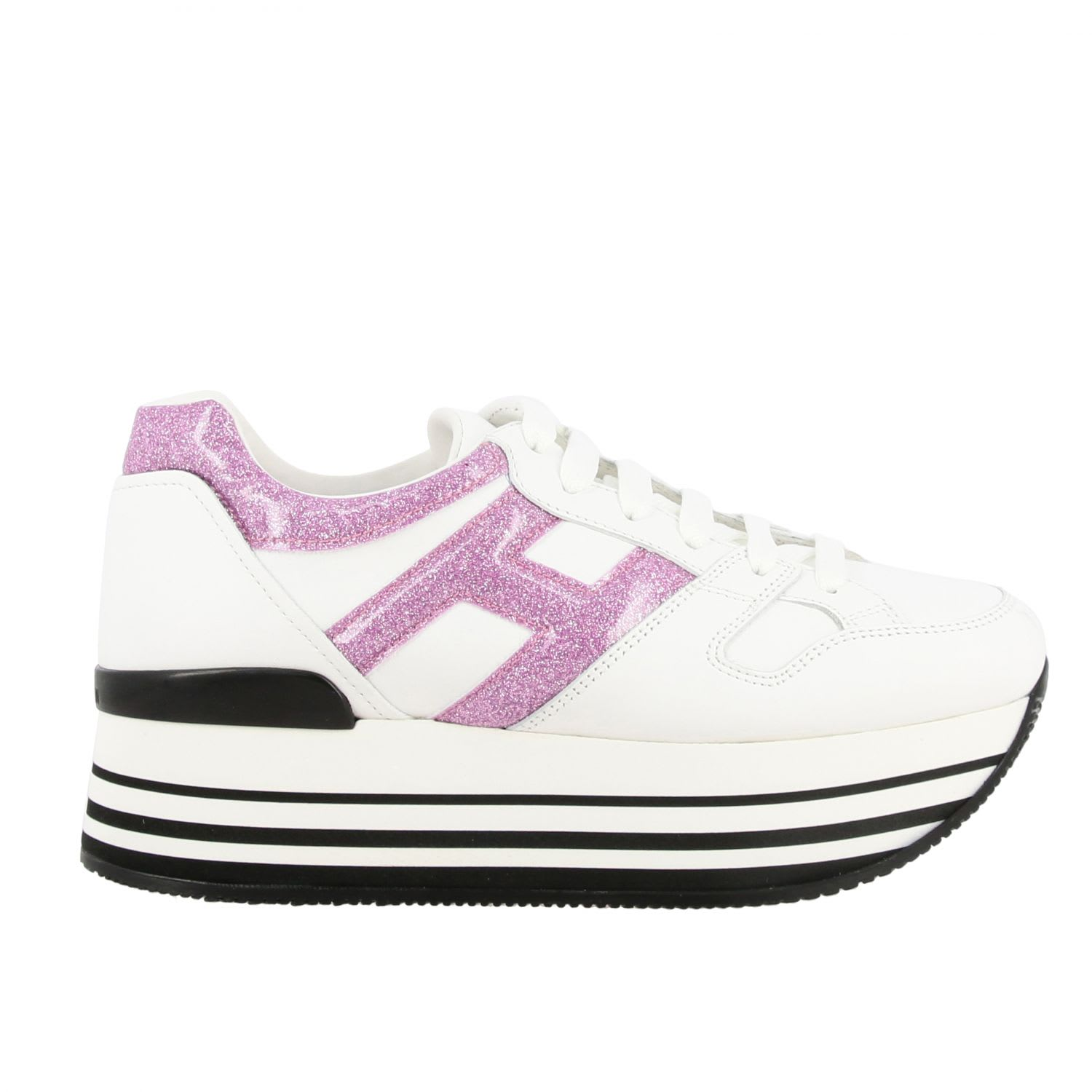 Hogan 283 Platform Sneakers In Leather With Big Glitter H In White ...