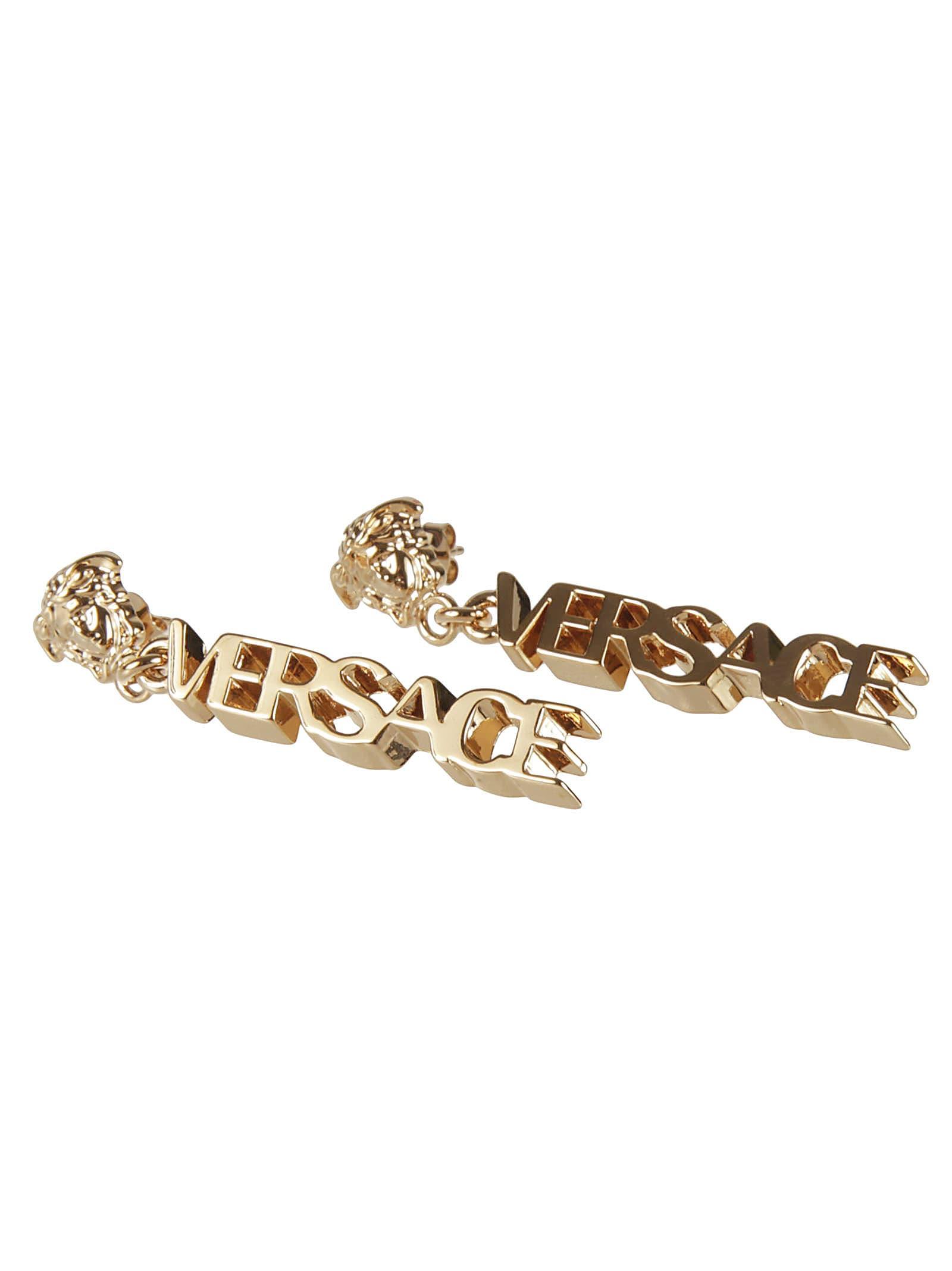 Versace Logo Earrings In Gold