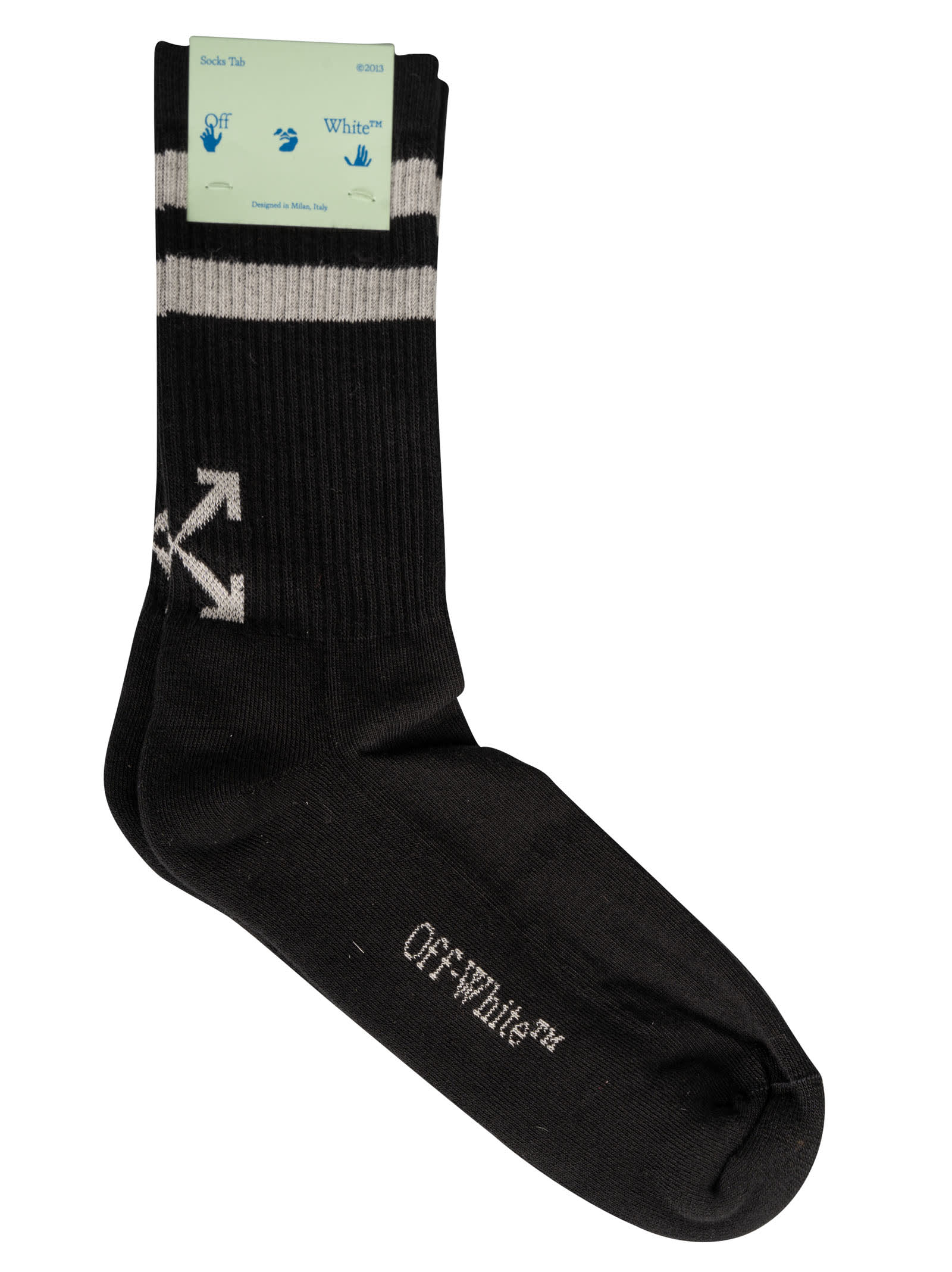 Off-white Striped Socks In Black/white