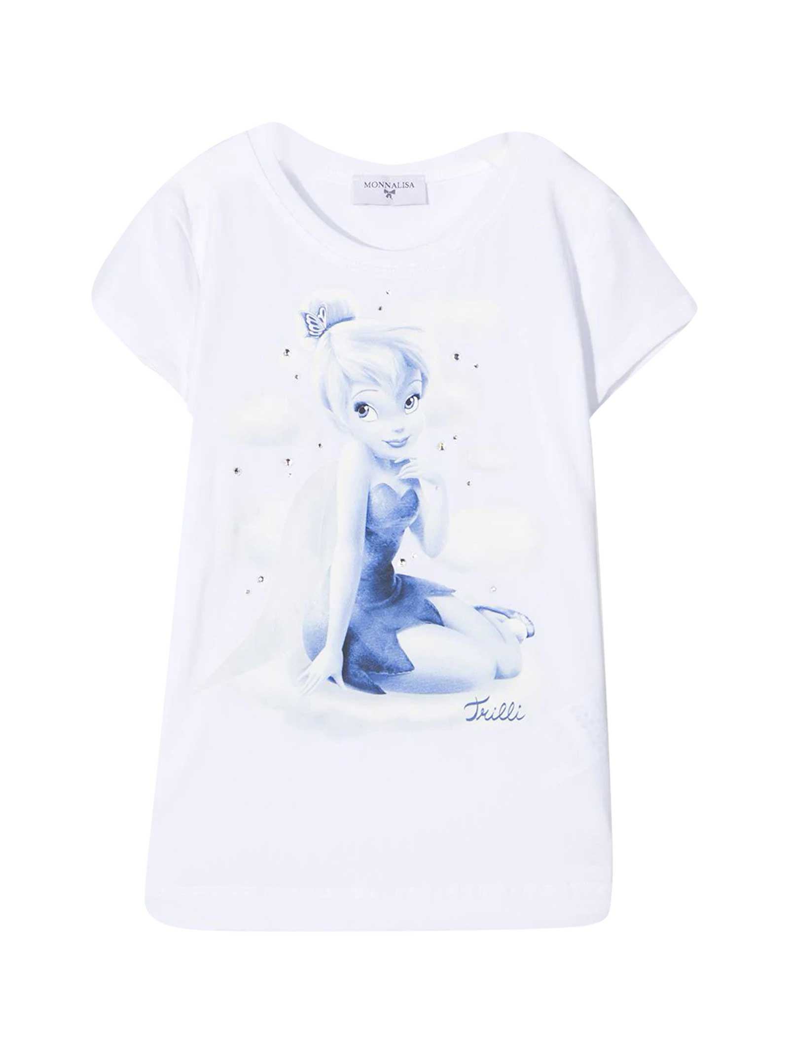 Monnalisa Cottons WHITE T-SHIRT WITH FRONTAL PRINT