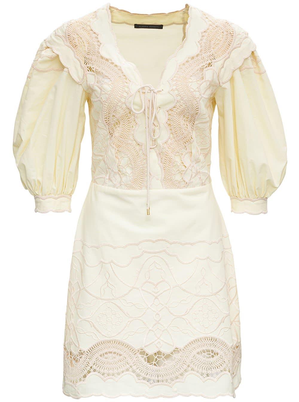 Alberta Ferretti Yellow Cotton Chambray Dress