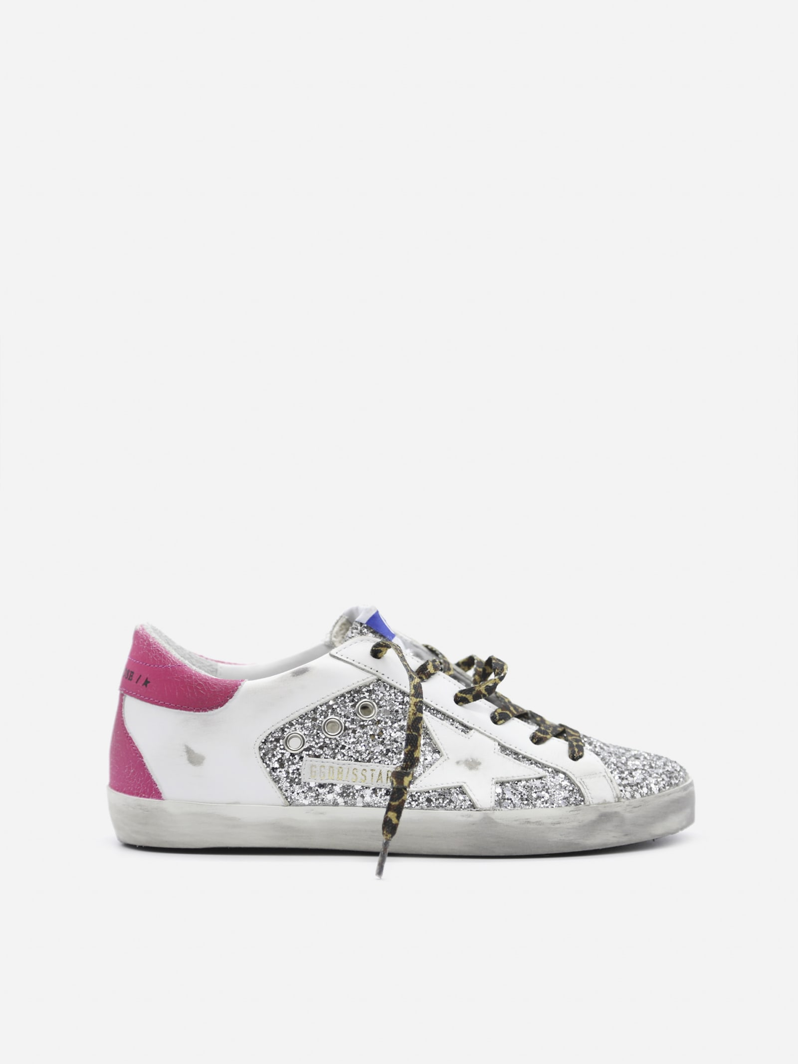 Golden Goose Superstar Sneakers In Leather With Suede And Glitter Inserts