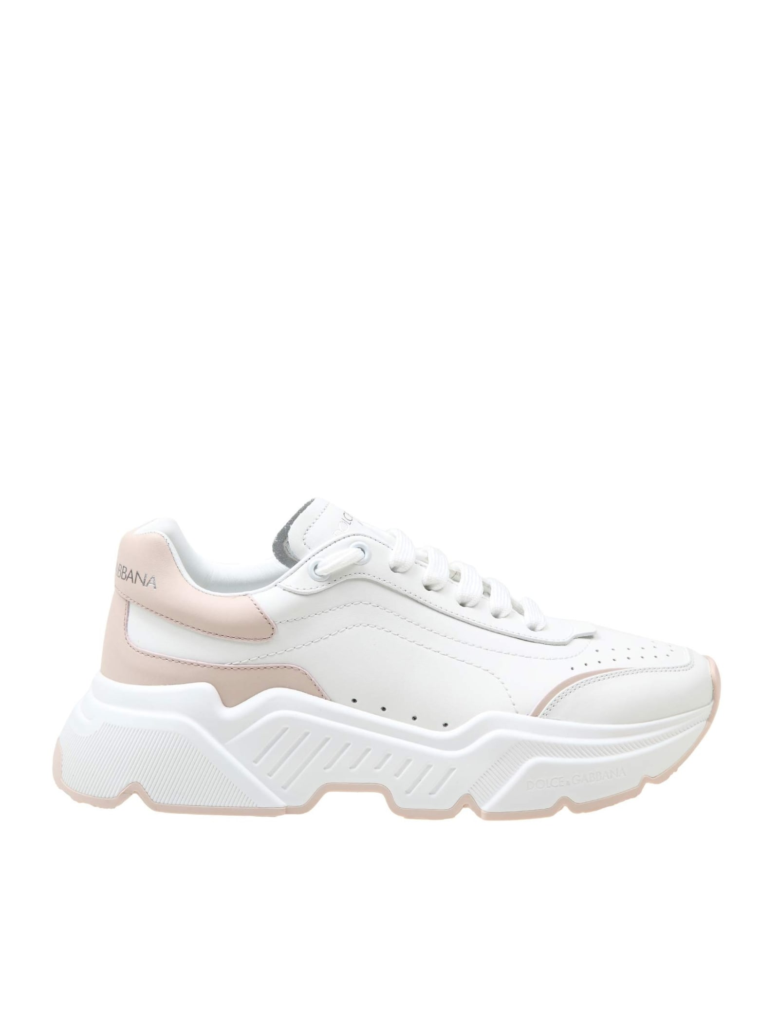 Dolce & Gabbana DAYMASTER SNEAKERS IN WHITE / PINK LEATHER