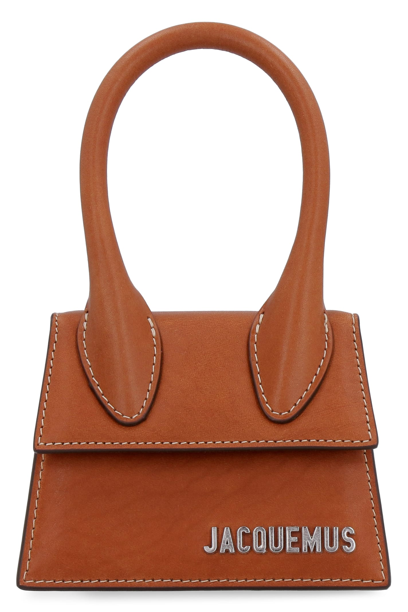 Jacquemus Le Chiquito Leather Mini Bag In Saddle Brown