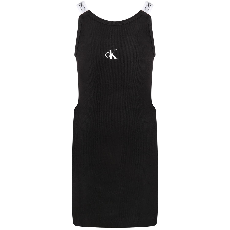 Calvin Klein Black Dress For Girl With Logo
