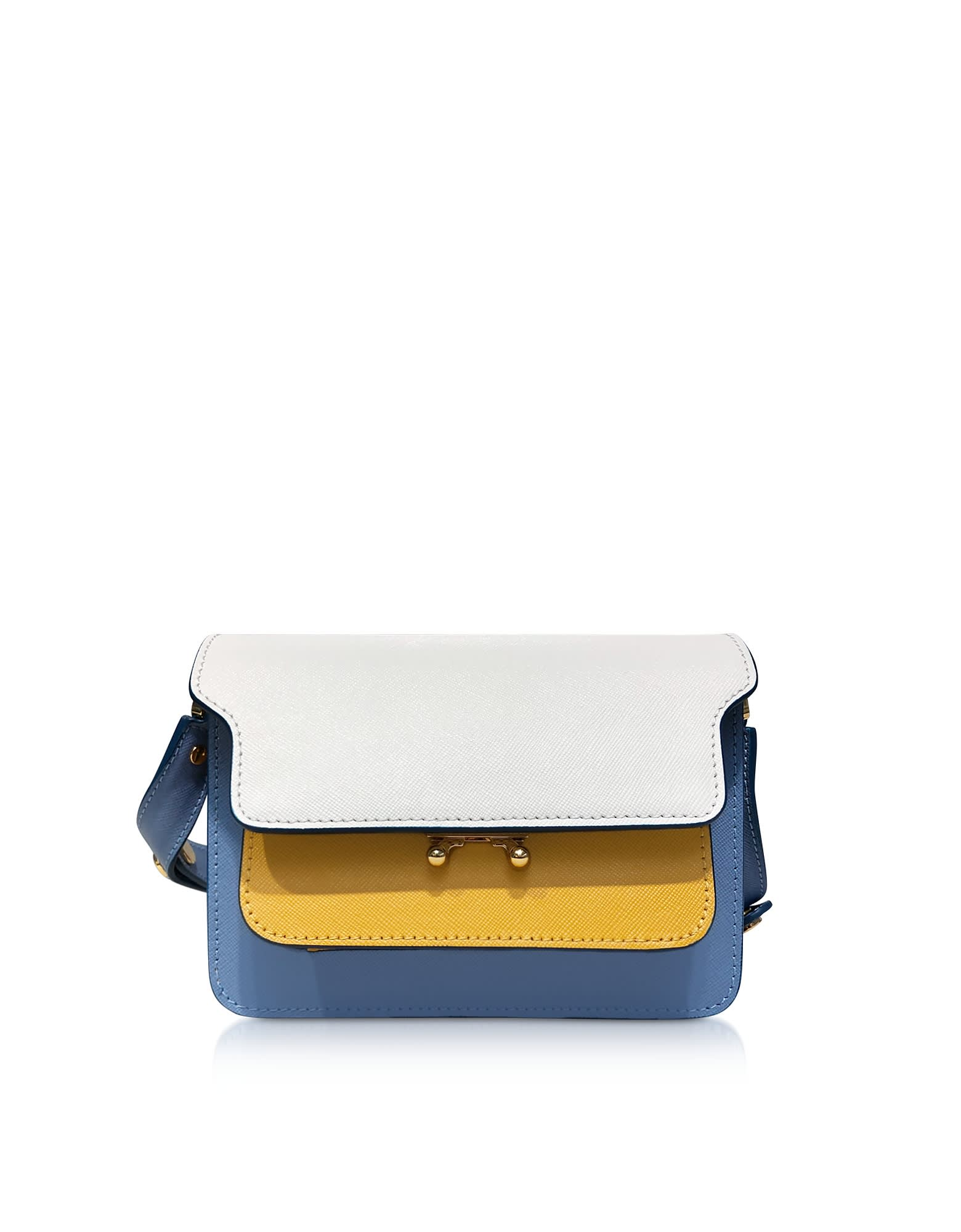 Marni Pants COLOR BLOCK SAFFIANO LEATHER MICRO TRUNK BAG