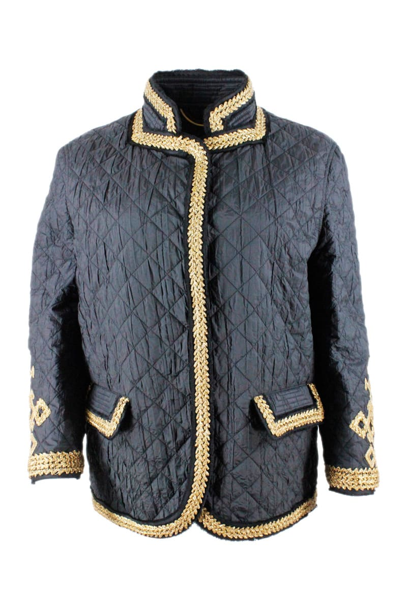 Ermanno Scervino LIGHT LONG-SLEEVED QUILTED JACKET WITH BUTTONS AND INSERTS IN GOLD COLOR