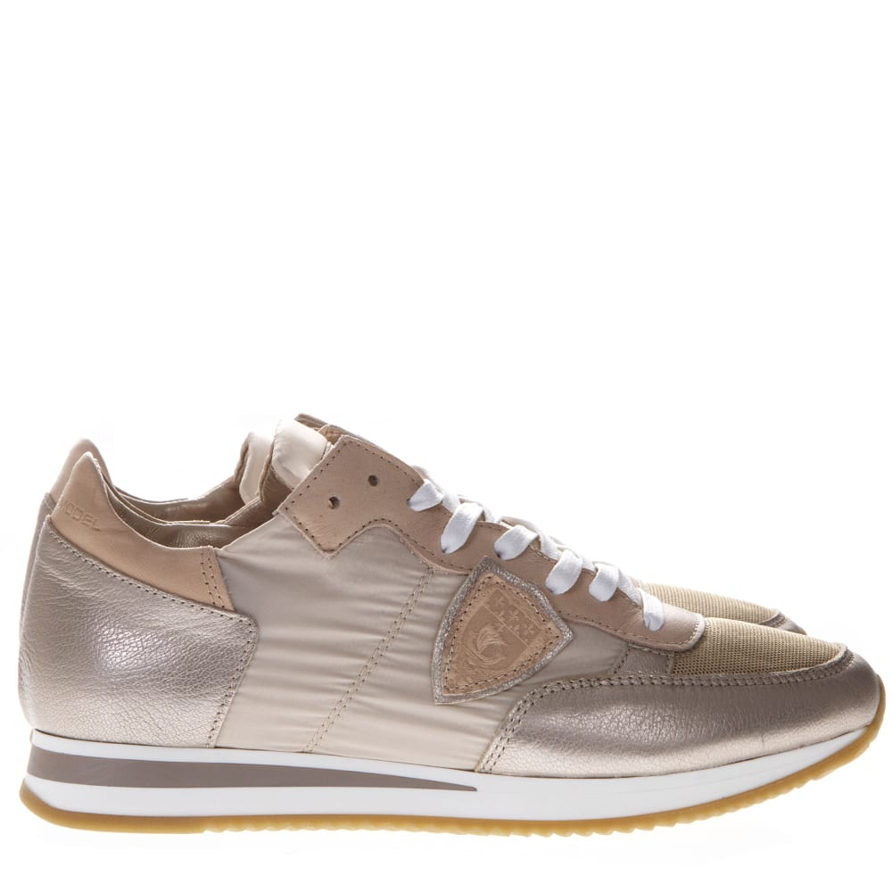 Philippe Model Tropez Rose Nylon & Leather Sneakers