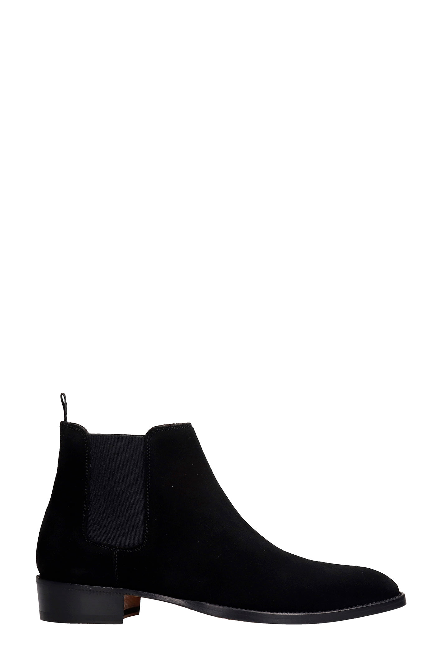 Low Heels Ankle Boots In Black Suede