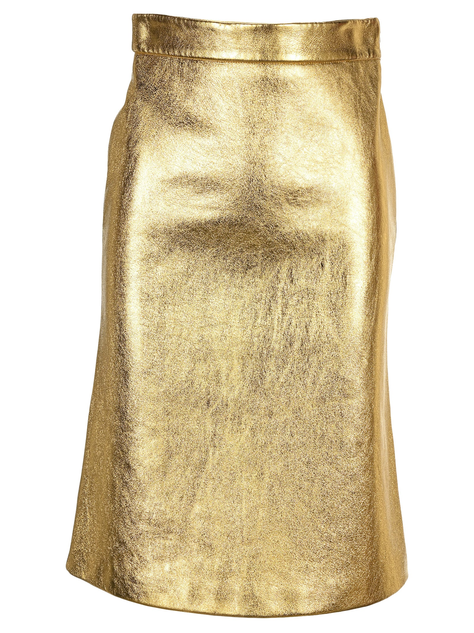 Prada LEATHER METALLIC STRAIGHT MIDI-SKIRT