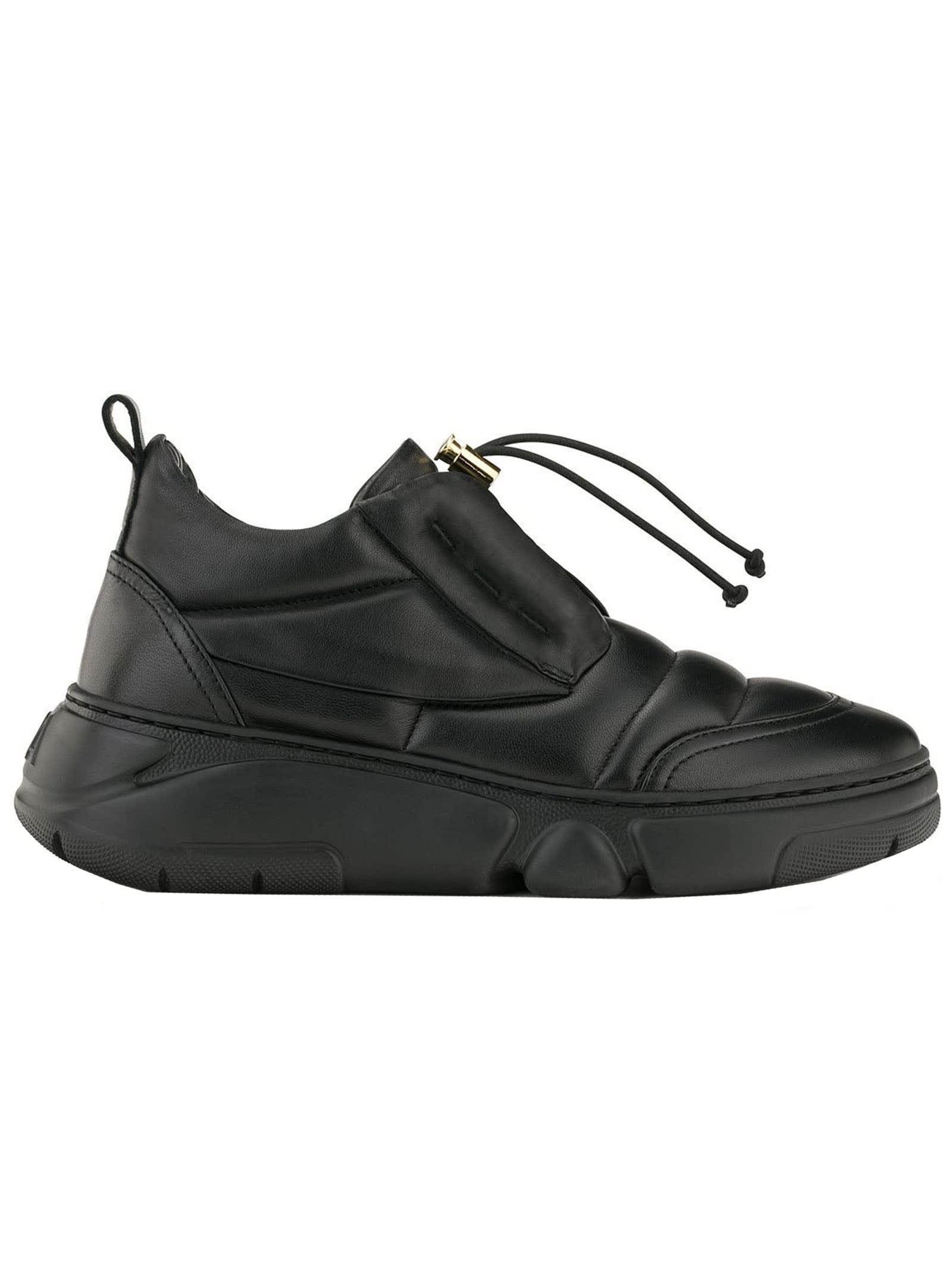 Agl D938012pg Black Leather Venus Sneakers