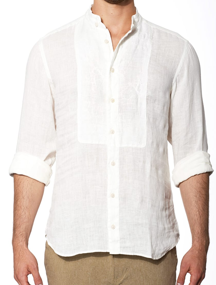 Off White Embroidered Man Linen Shirt