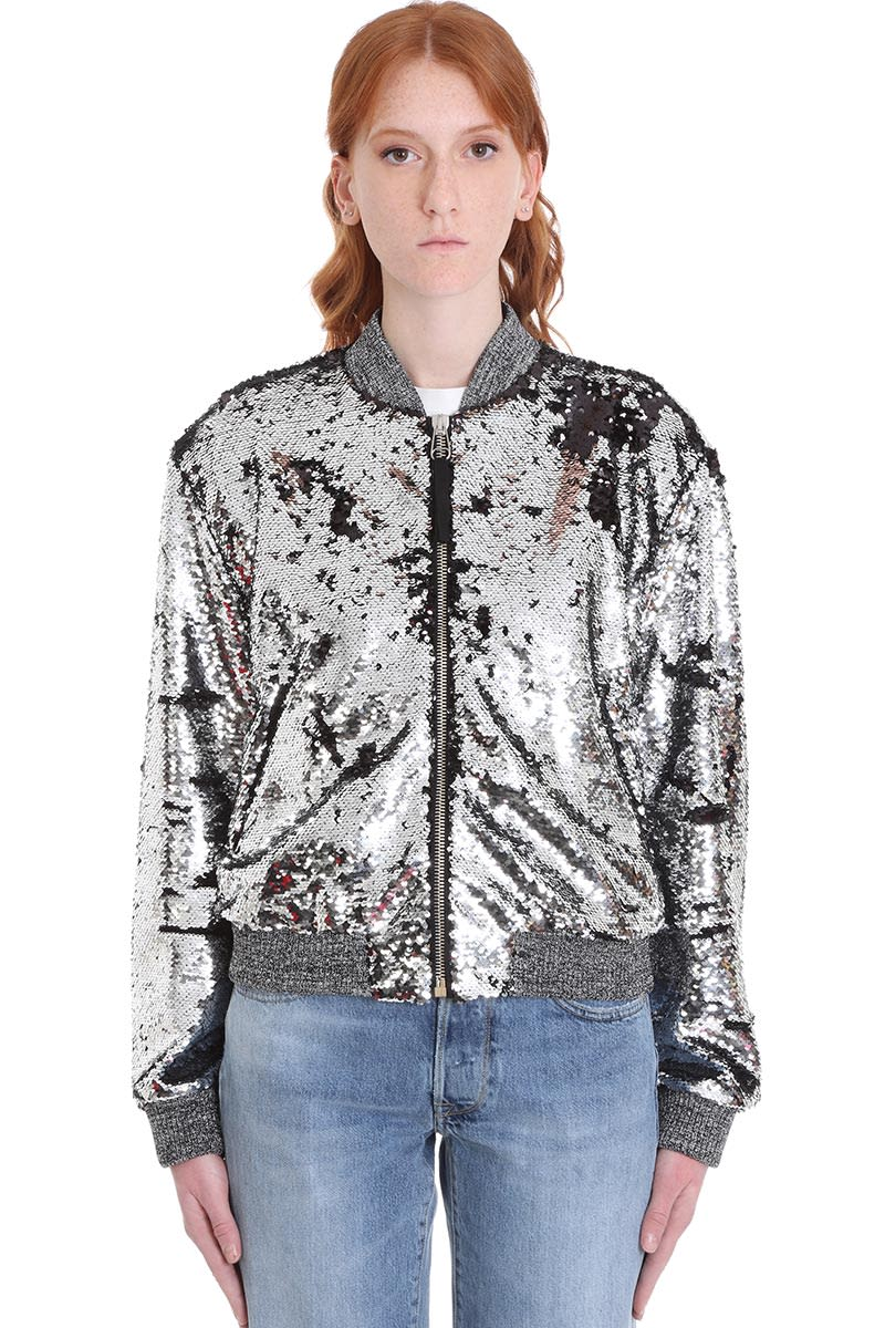Sierra Bomber in silver polyester, sequins, zip clousure, elasticized cuffs and bottom, zip pockets, 36% cupro, model is 180 cm and wears size 40Composition: Polyester
