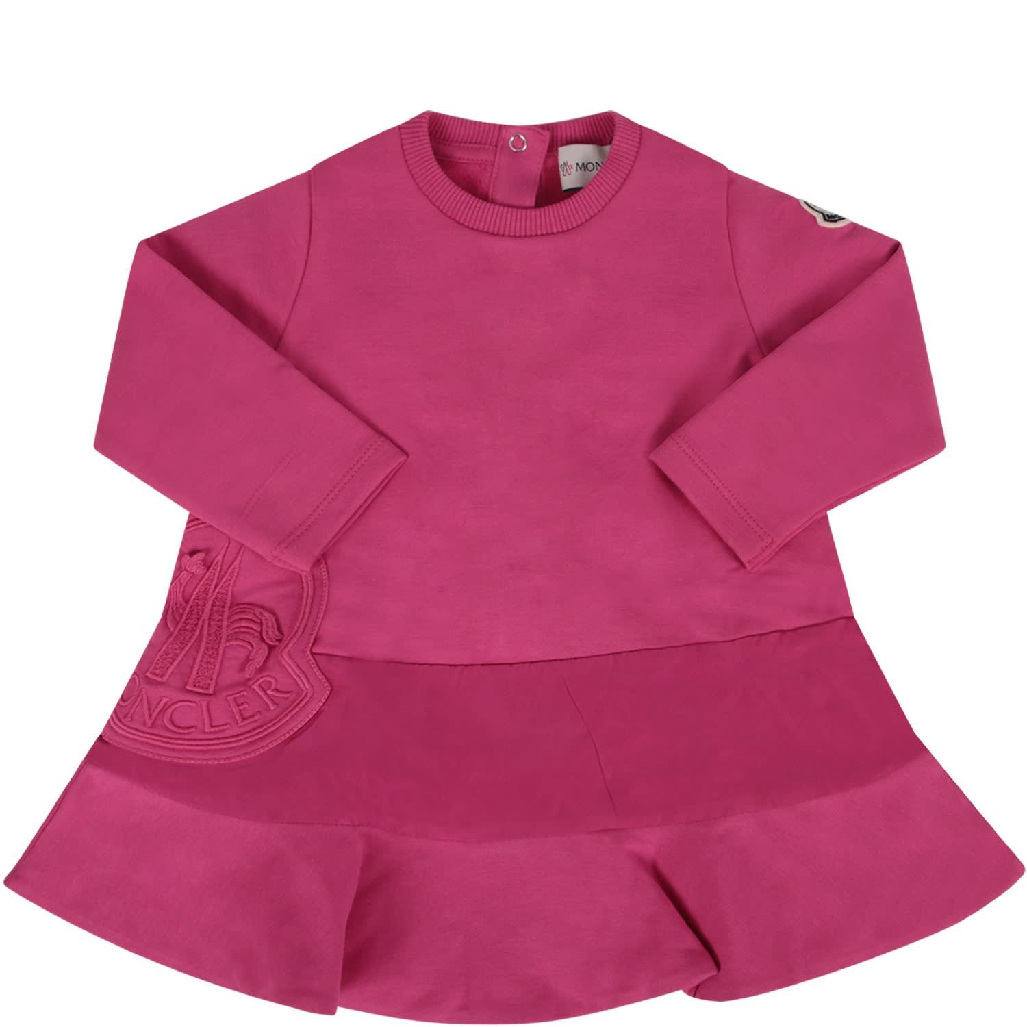 Moncler Fucshia Babygirl Dress With Iconic Patch