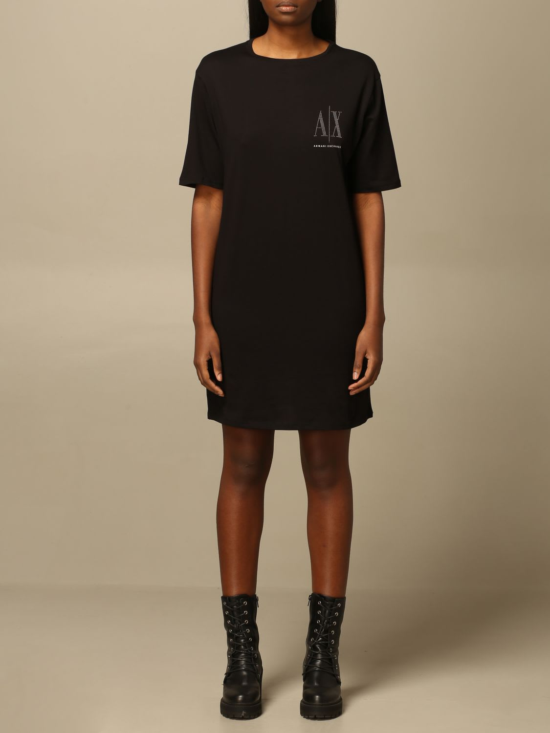 Buy Armani Exchange Dress Armani Exchange Short Dress With Logo online, shop Armani Collezioni with free shipping