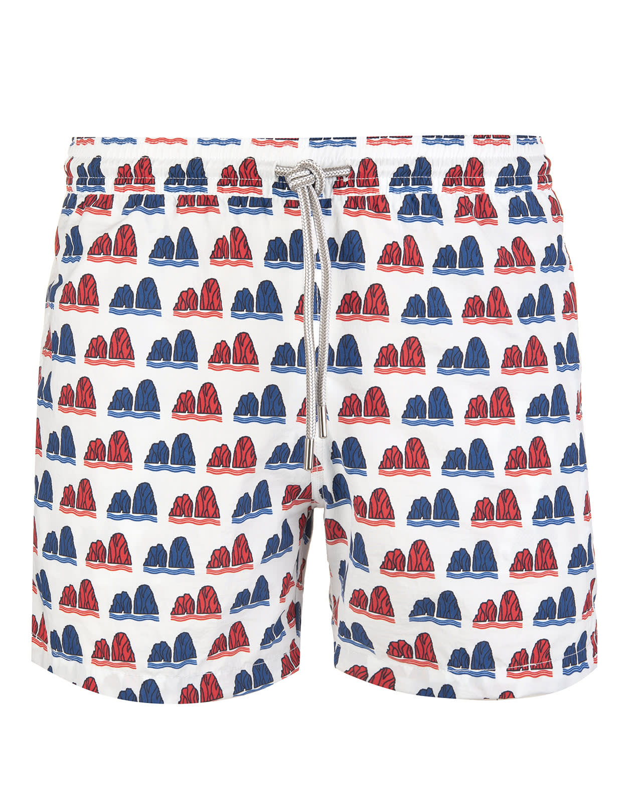 White Swimsuit With Red And Blue Faraglioni Pattern