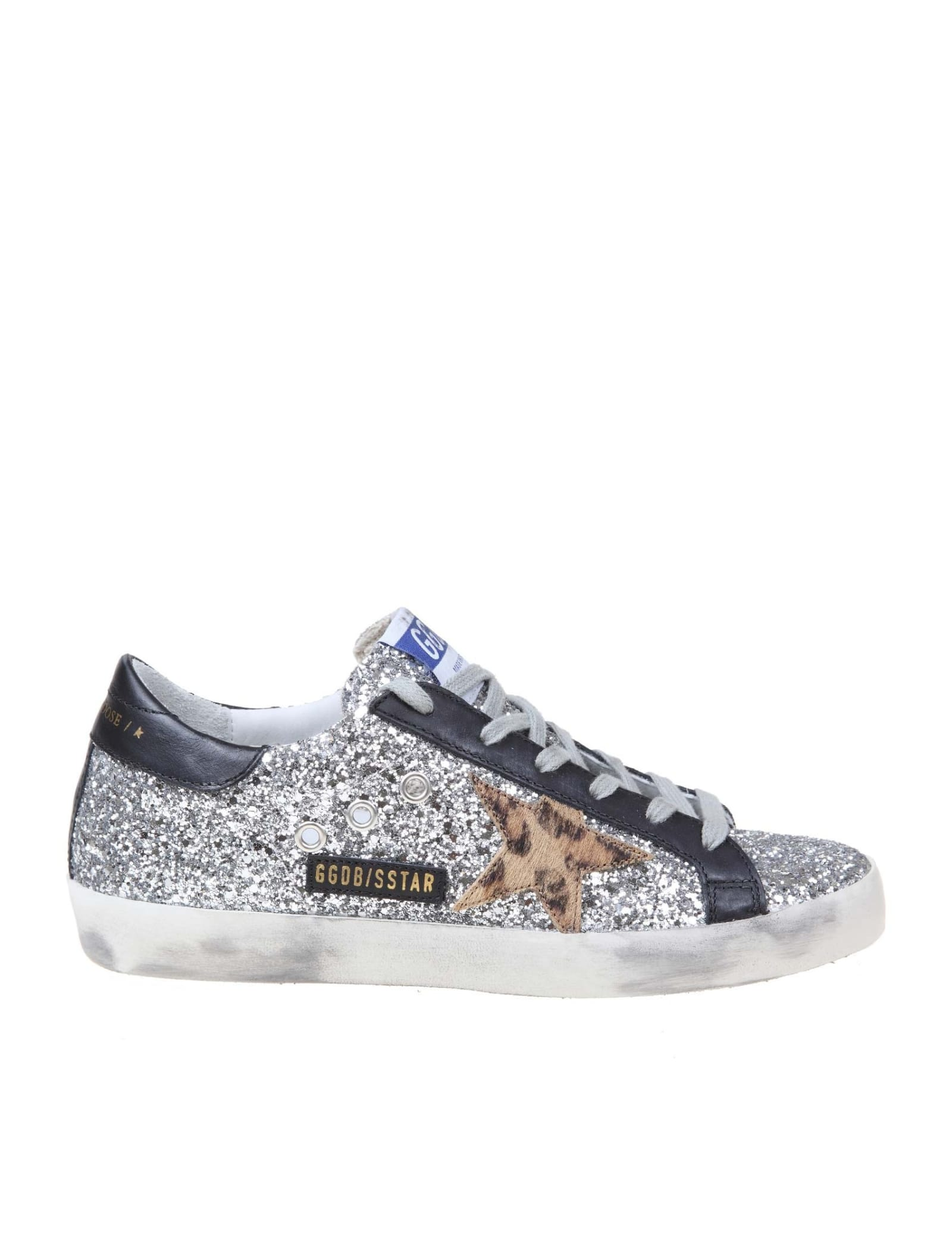 GOLDEN GOOSE SUPERSTAR SNEAKER IN SILVER GLITTER