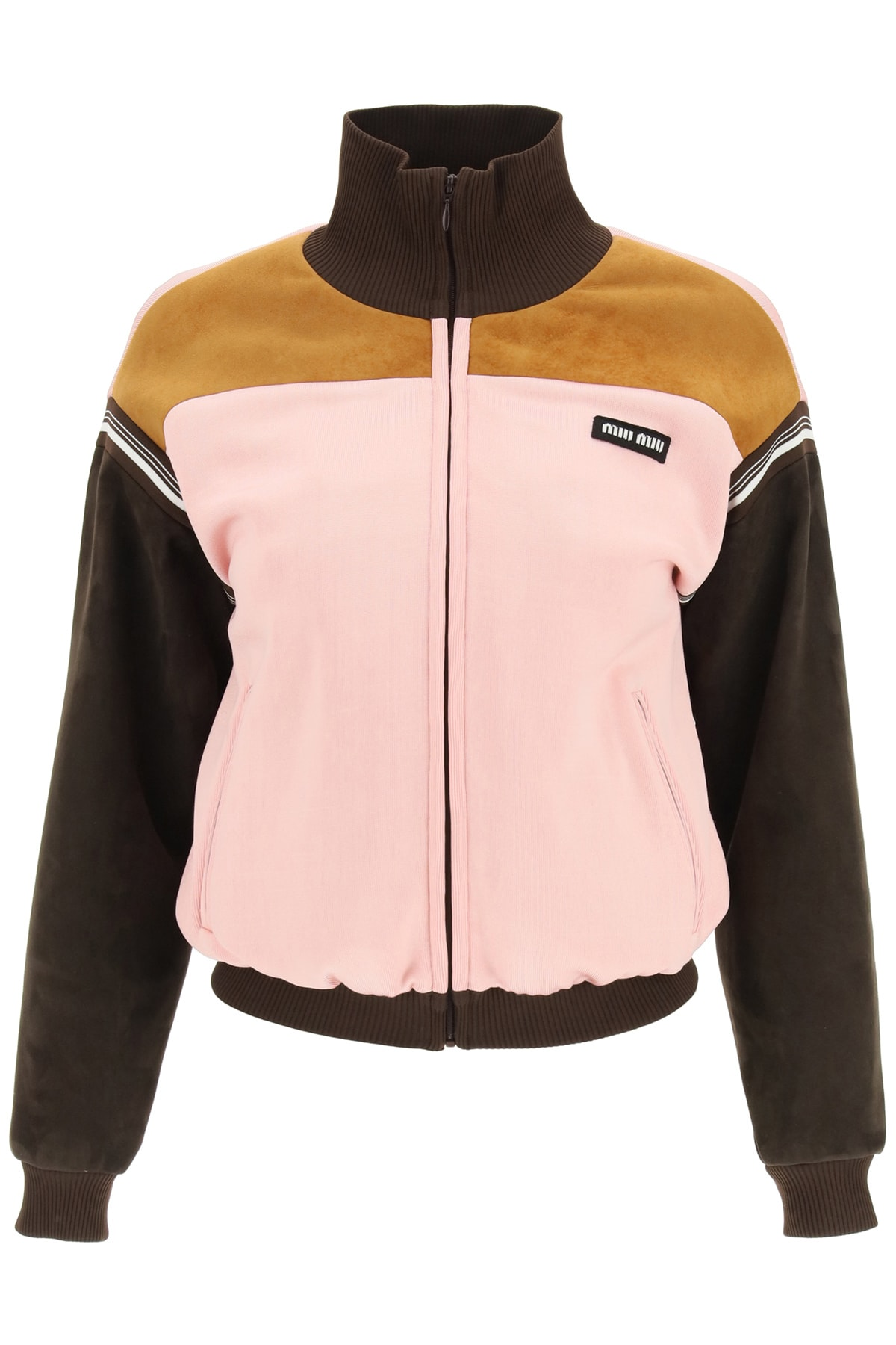 Miu Miu BLOUSON IN LUX JERSEY WITH SUEDE