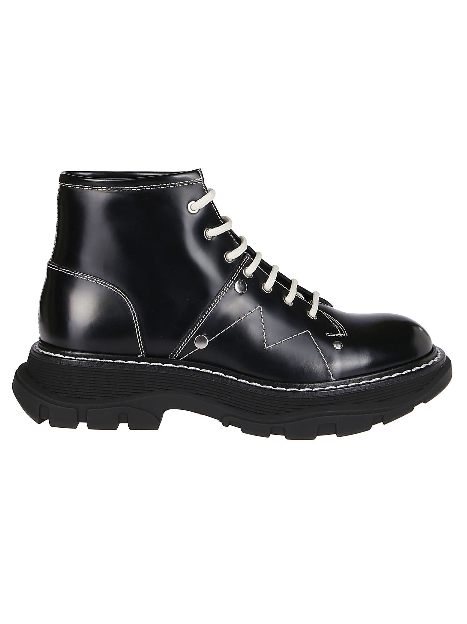 Buy Alexander McQueen Black Leather Tread Boots online, shop Alexander McQueen shoes with free shipping