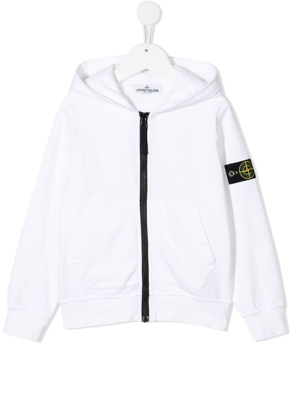 Stone Island Junior WHITE JERSEY HOODIE WITH LOGO