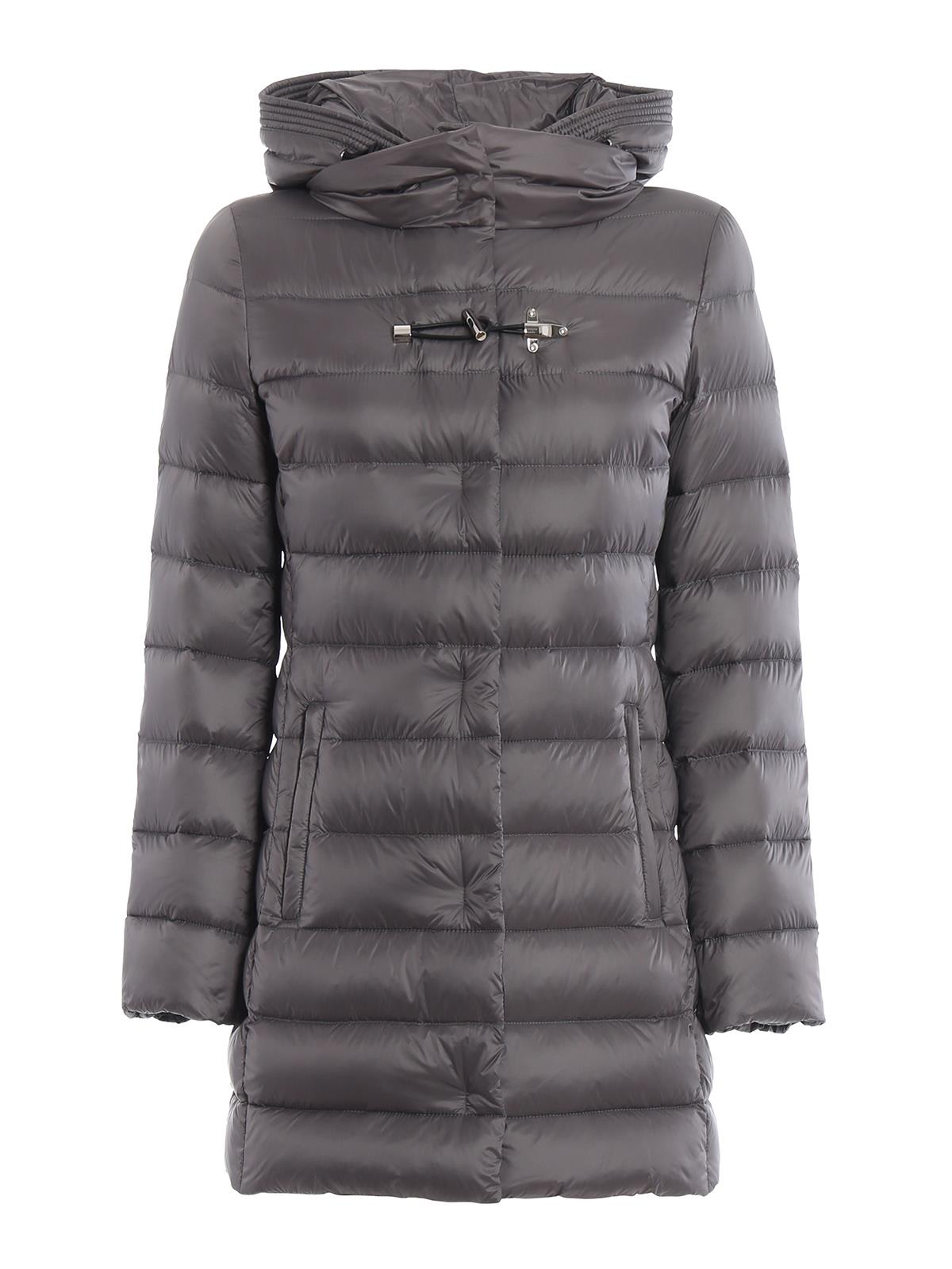 Fay Black Nylon Puffer Coat With Wraparound Hood