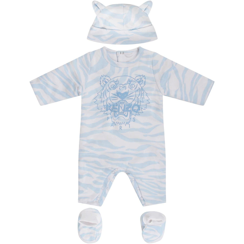 965030e35dba Kenzo Kids White Suit With Light Blue Tiger Skin Print - Light Blue ...