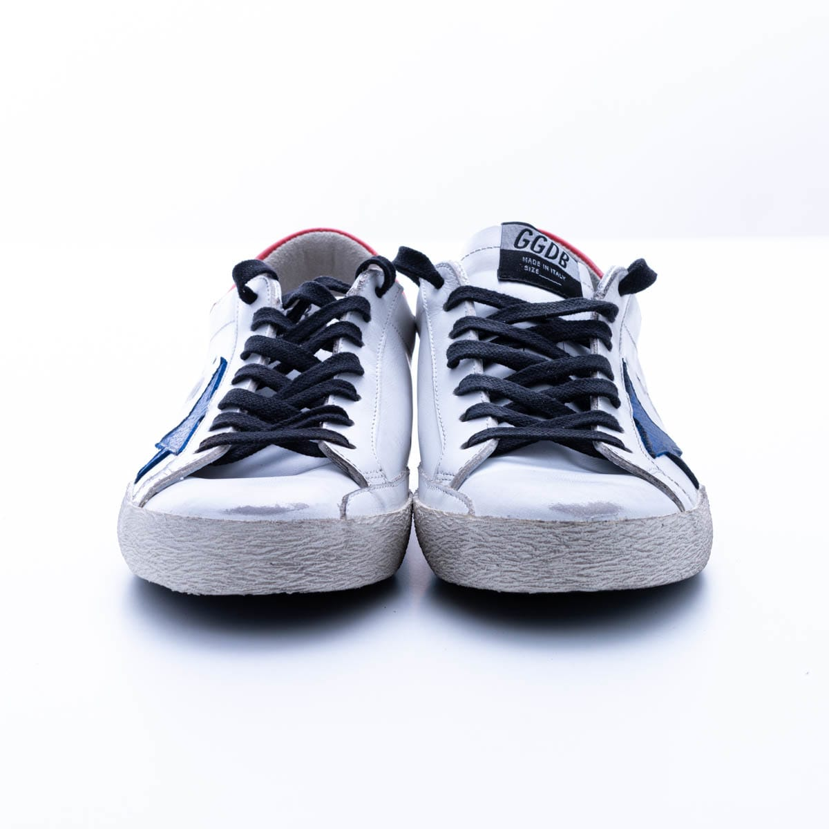 Golden Goose Superstar With Lst Sneaker In White - Bluette - Red