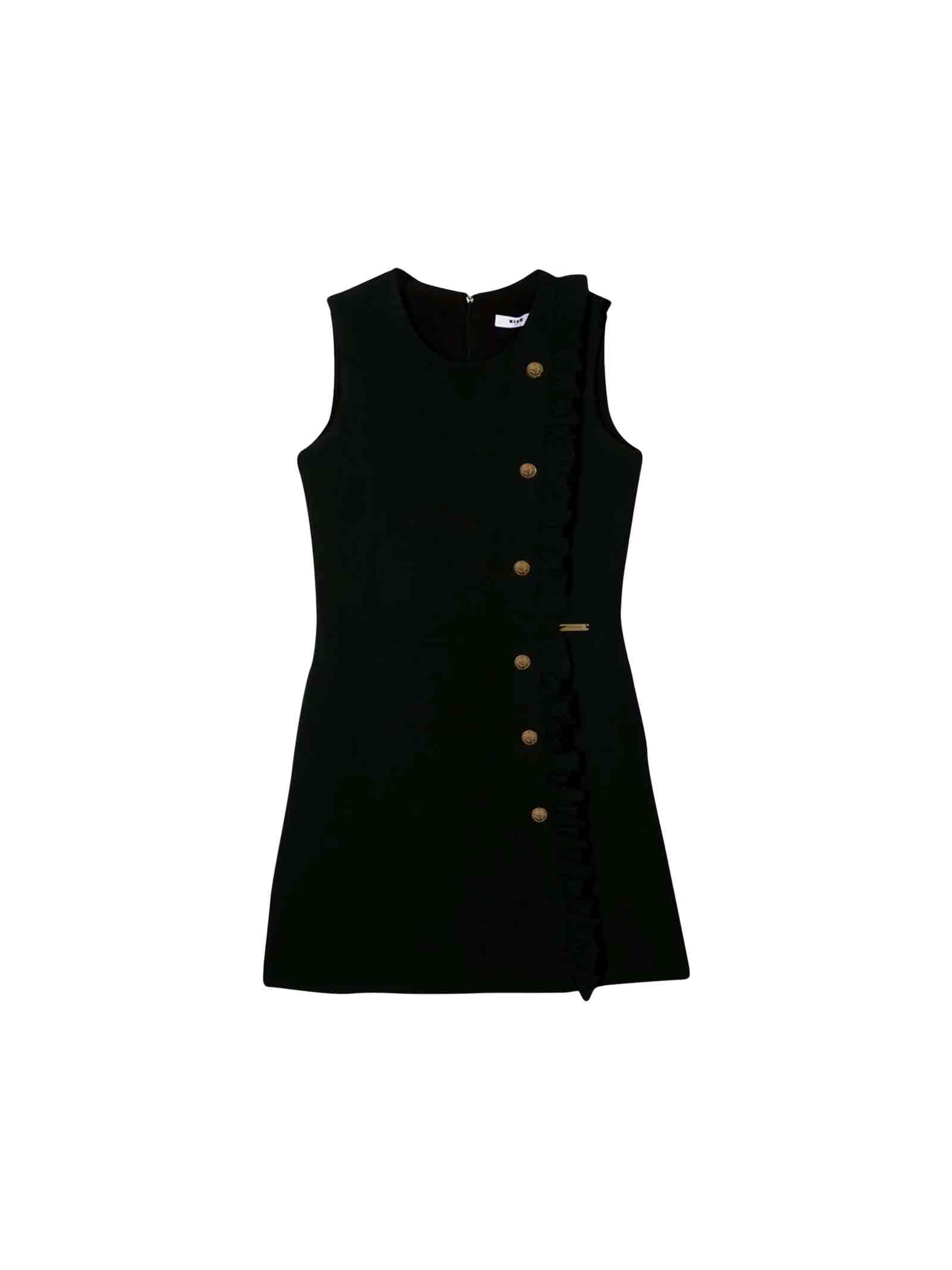 MSGM Short And Sleeveless Teen Black Dress