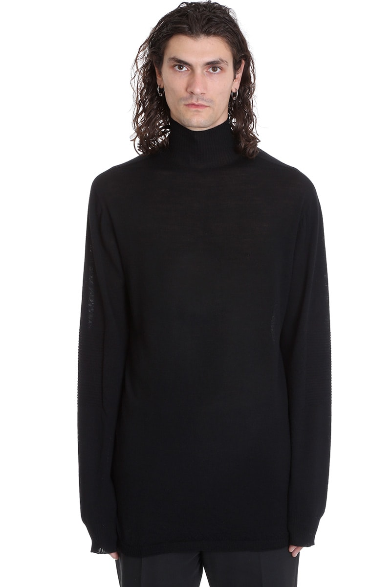 Rick Owens Oversize Turtle Knitwear In Black Wool