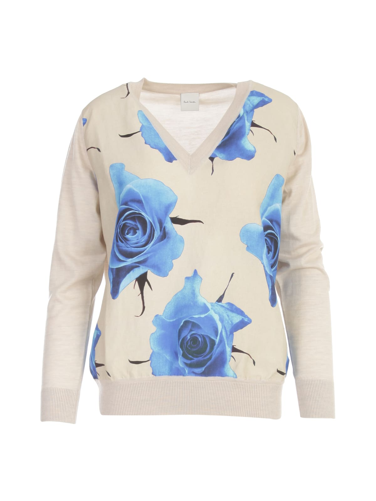 Paul Smith FLOWERS PRINTING V NECK SWEATER