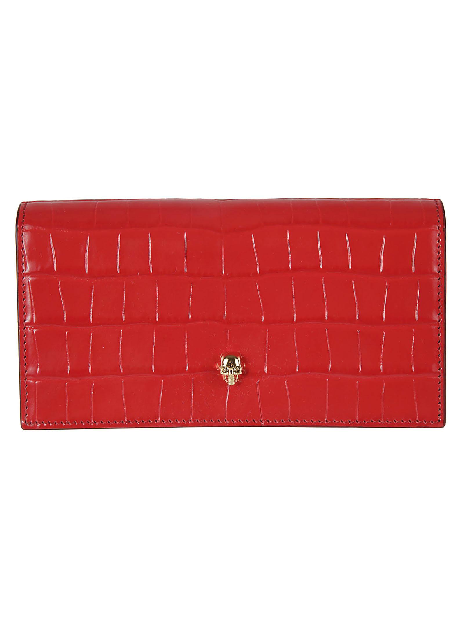 Alexander Mcqueen Flap Continental Wallet In Deep Red