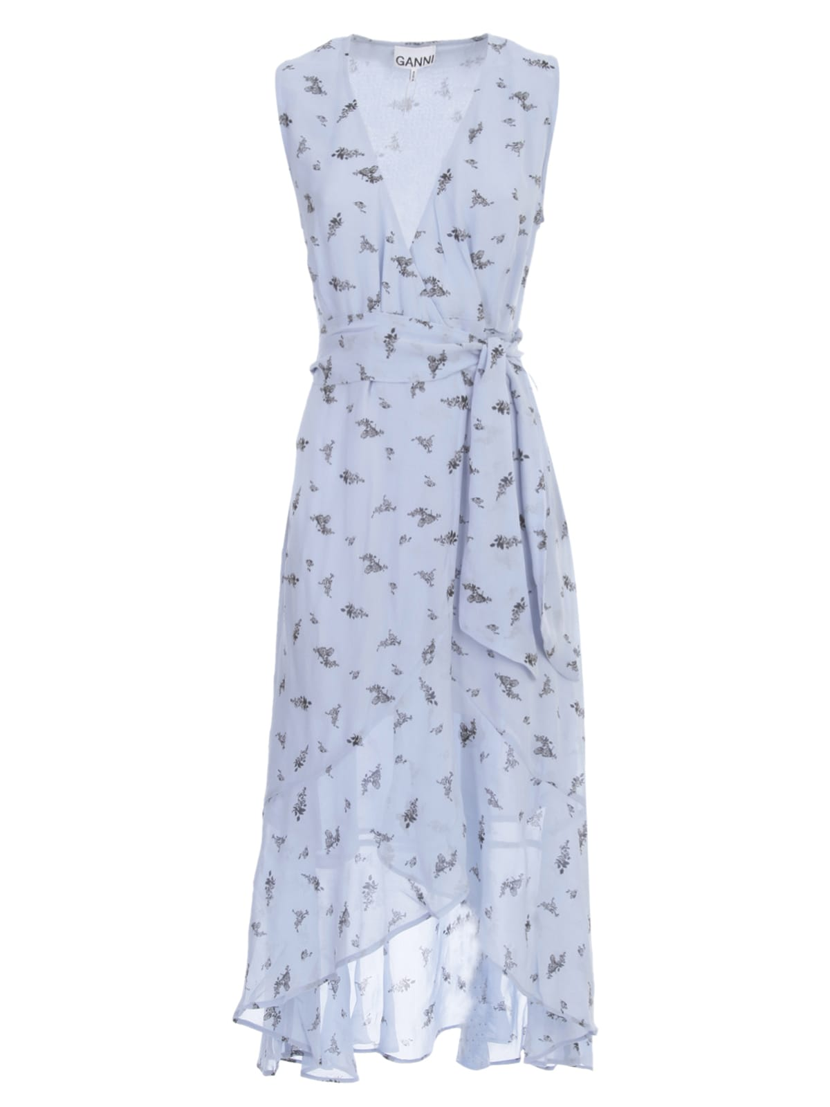 Buy Ganni Printed Georgette Dress W/s V Neck W/belt online, shop Ganni with free shipping