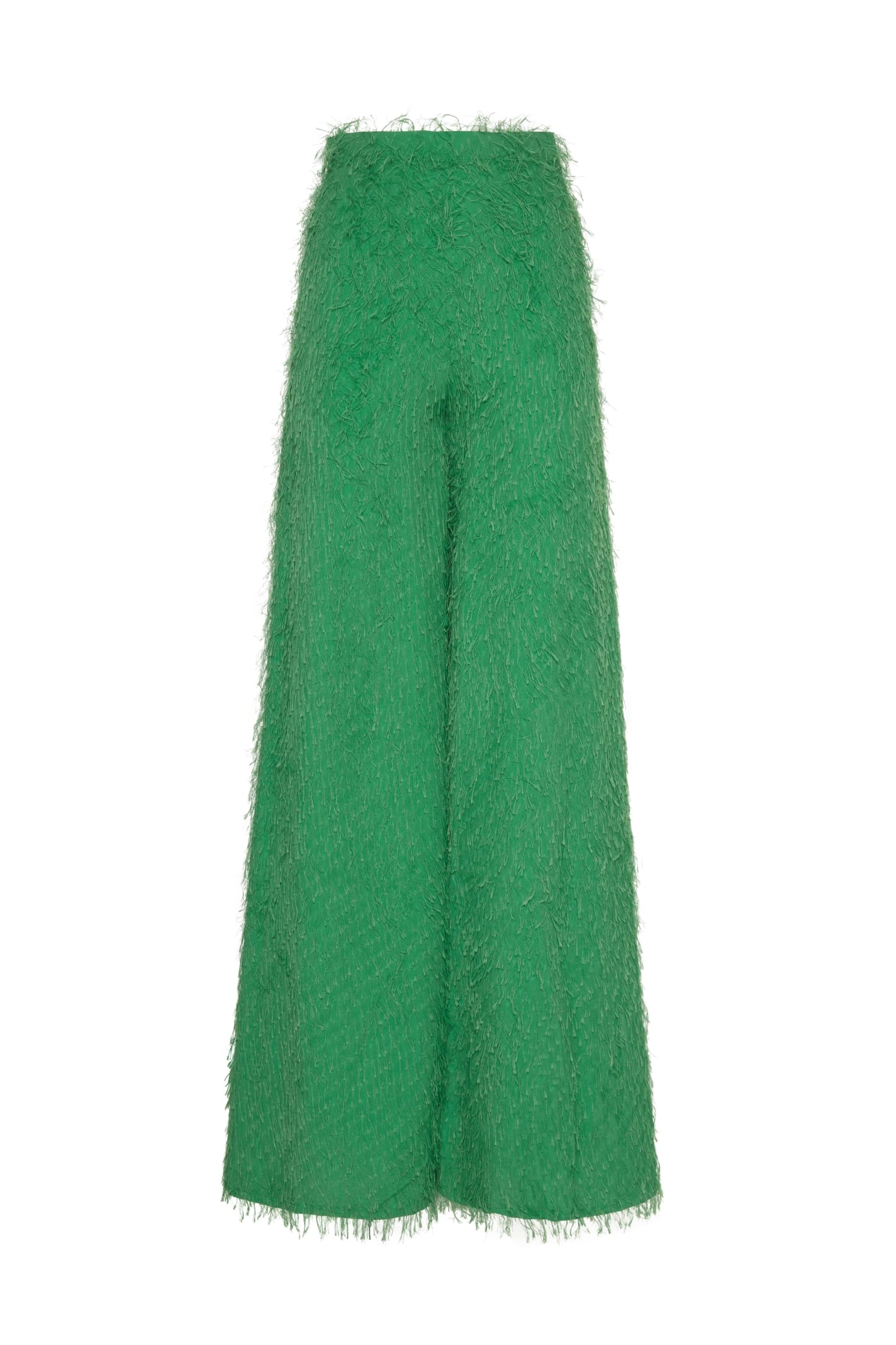 Amotea Carol Wide Trousers In Green Fil Coupe