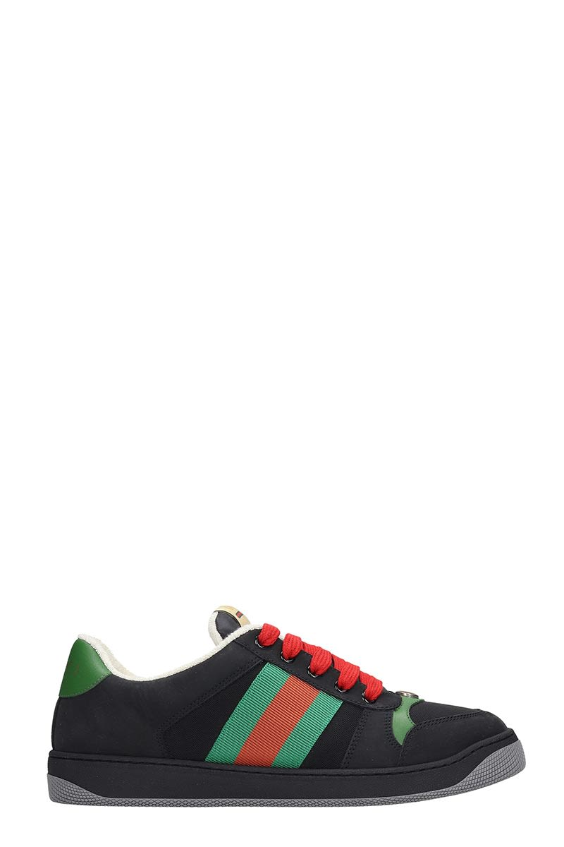 Gucci Screener Sneakers In Black Leather And Fabric